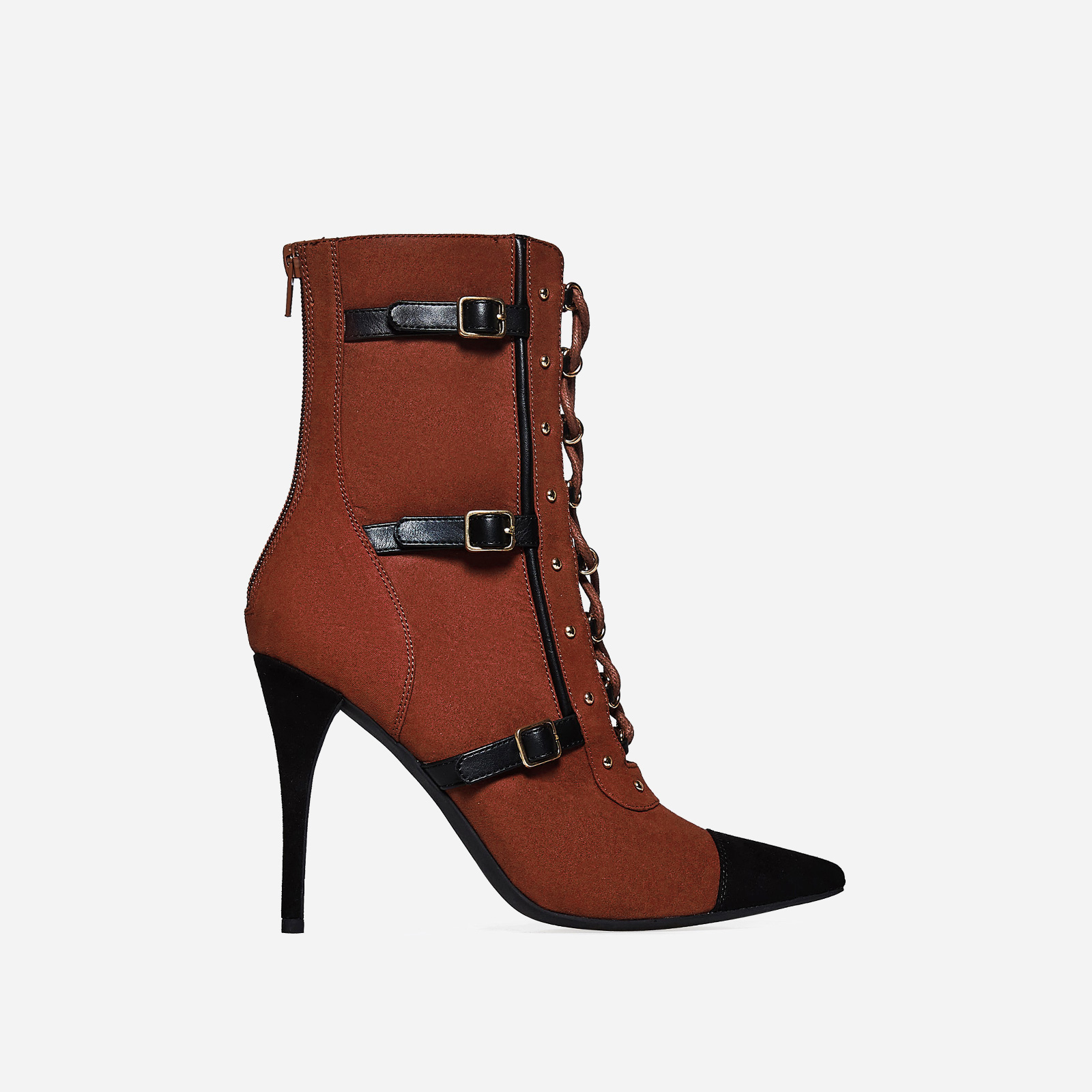 Kia Lace Up Buckle Detail Ankle Boot In Tan Faux Suede