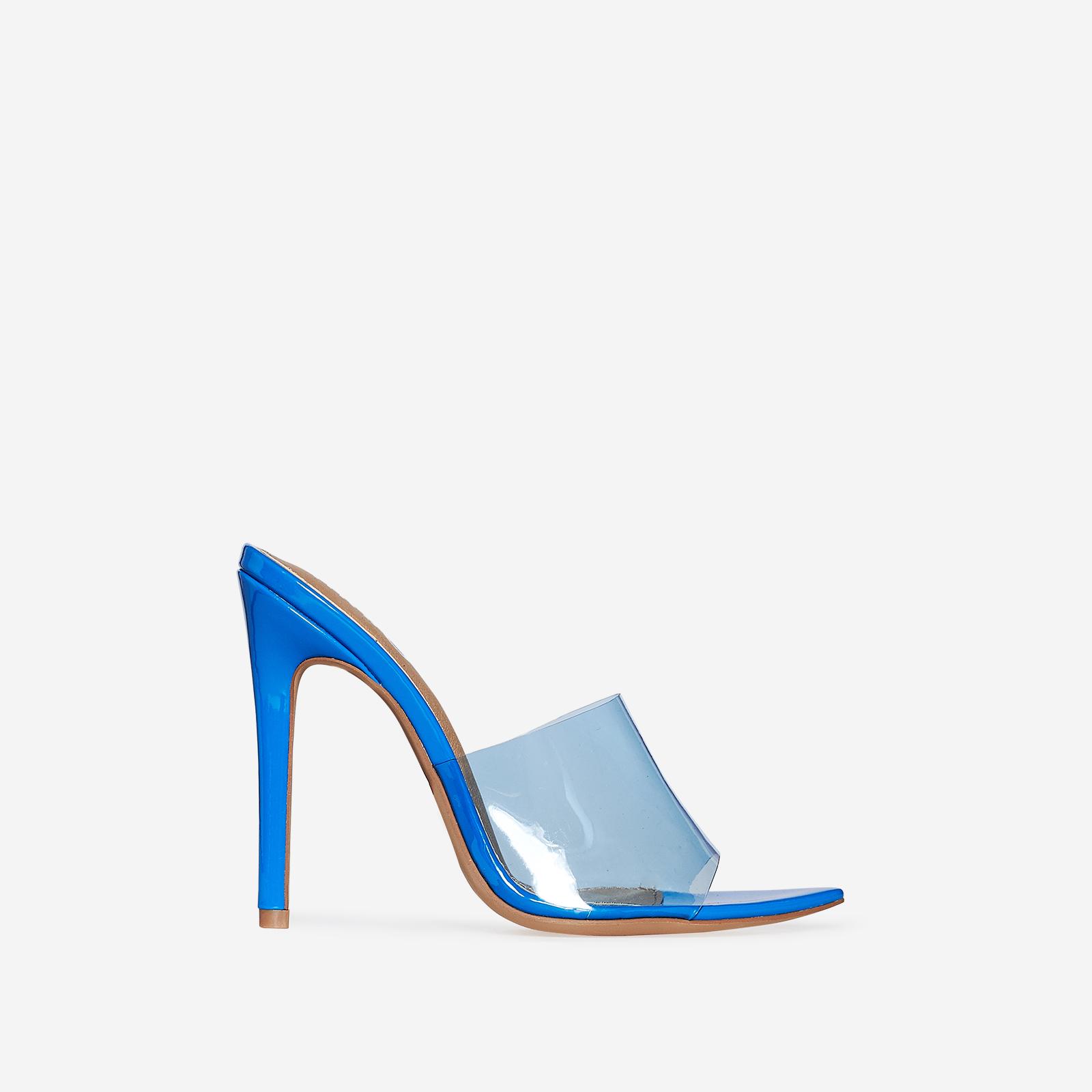 Kilo Perspex Peep Toe Mule In Blue Patent
