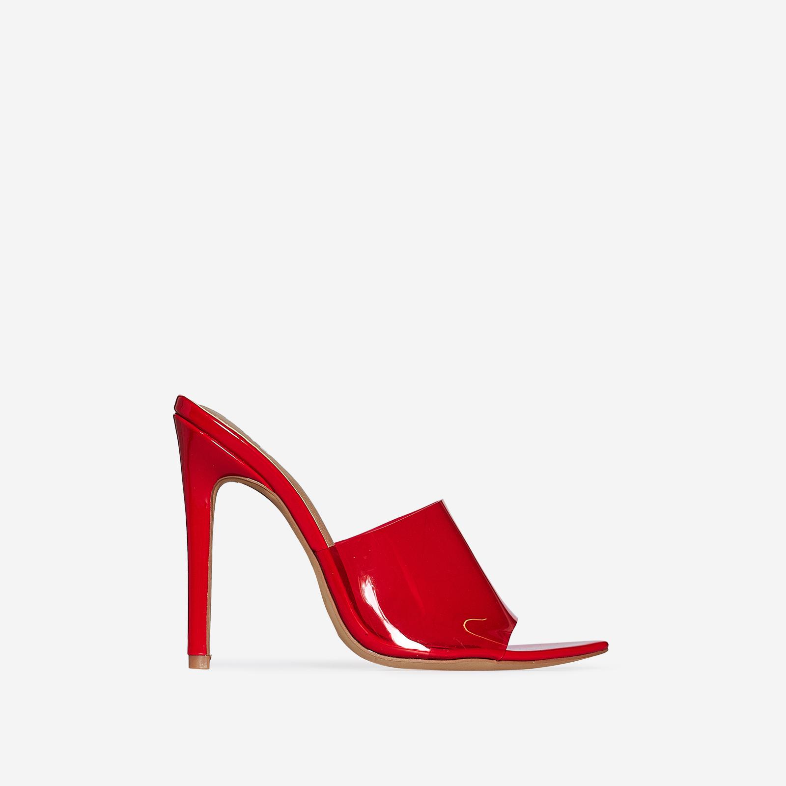 Kilo Peep Toe Perspex Clear Heel Mule In Red Patent