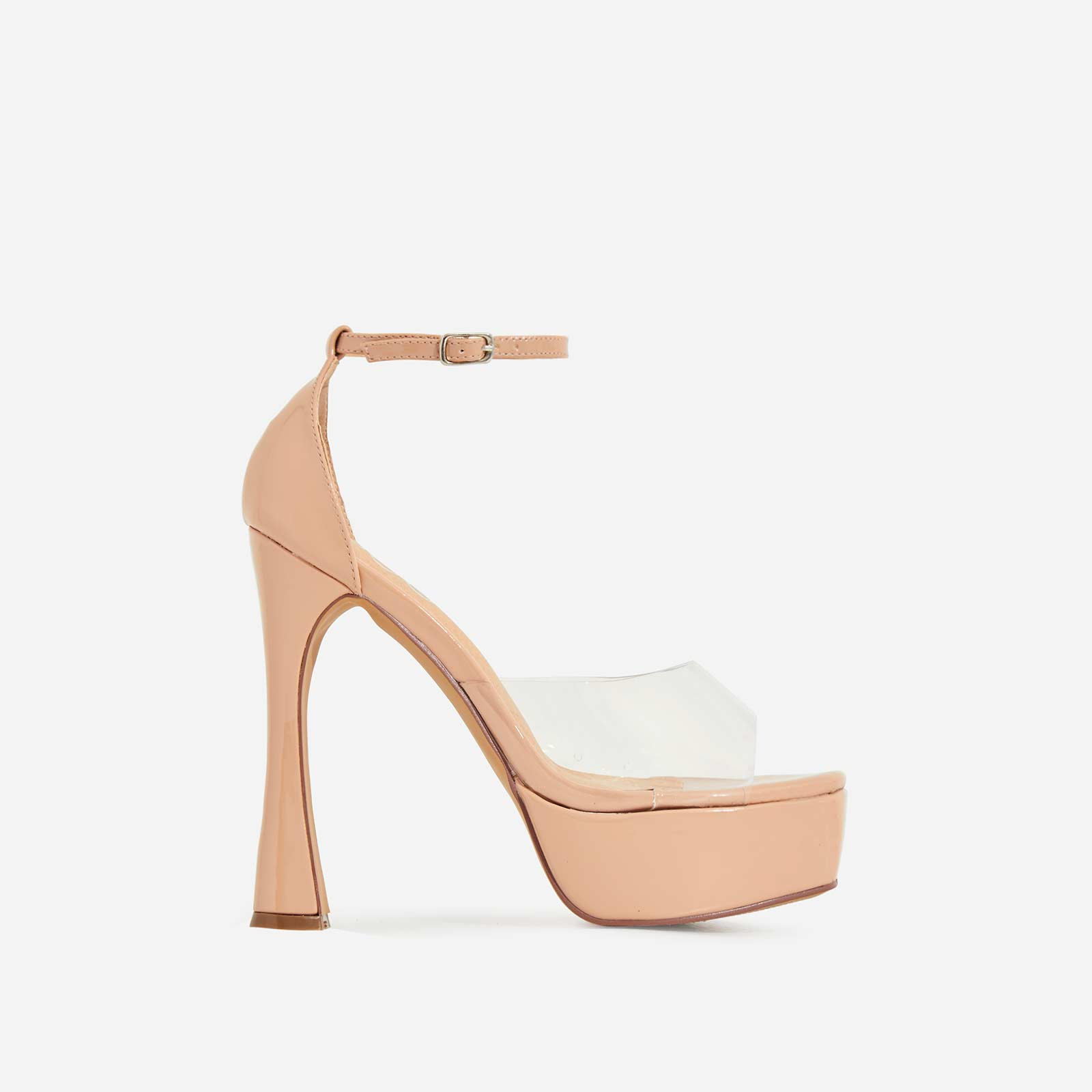 Kimmie Perspex Square Toe Platform Curved Heel In Nude Patent