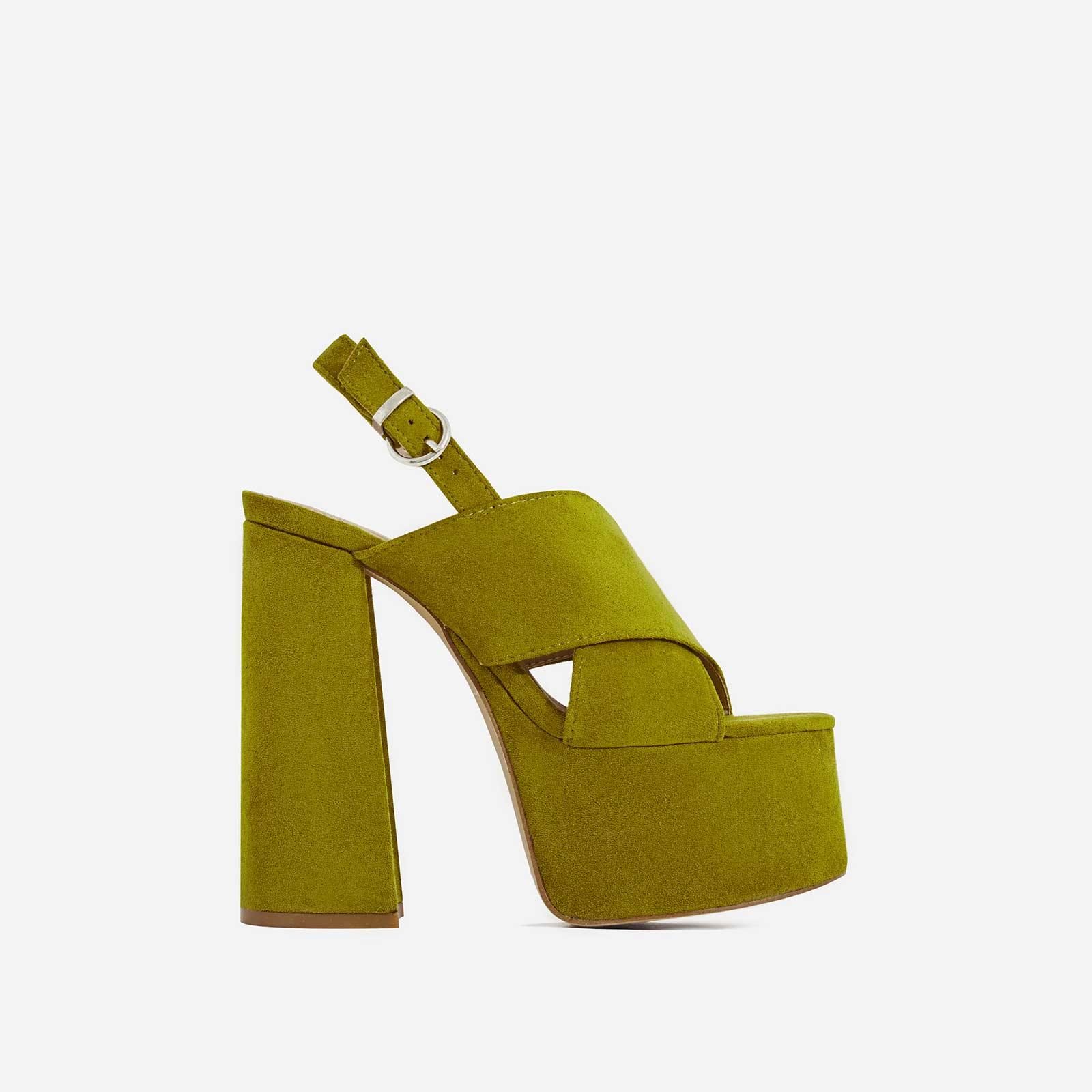 Kimberly Platform Peep Toe Mule In Khaki Faux Suede