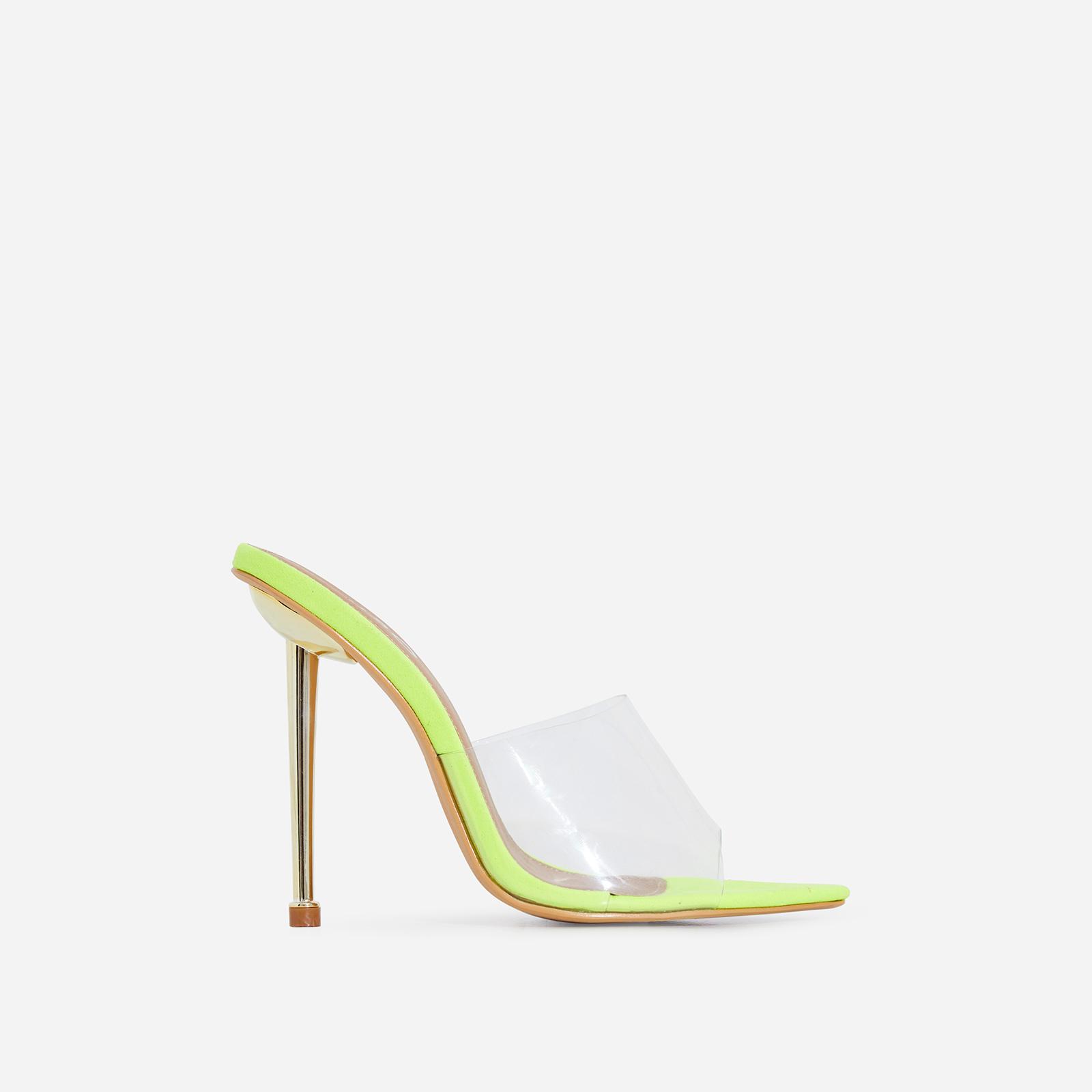 KingKing Perspex Pointed Peep Toe Heel Mule In Lime Green Faux Suede