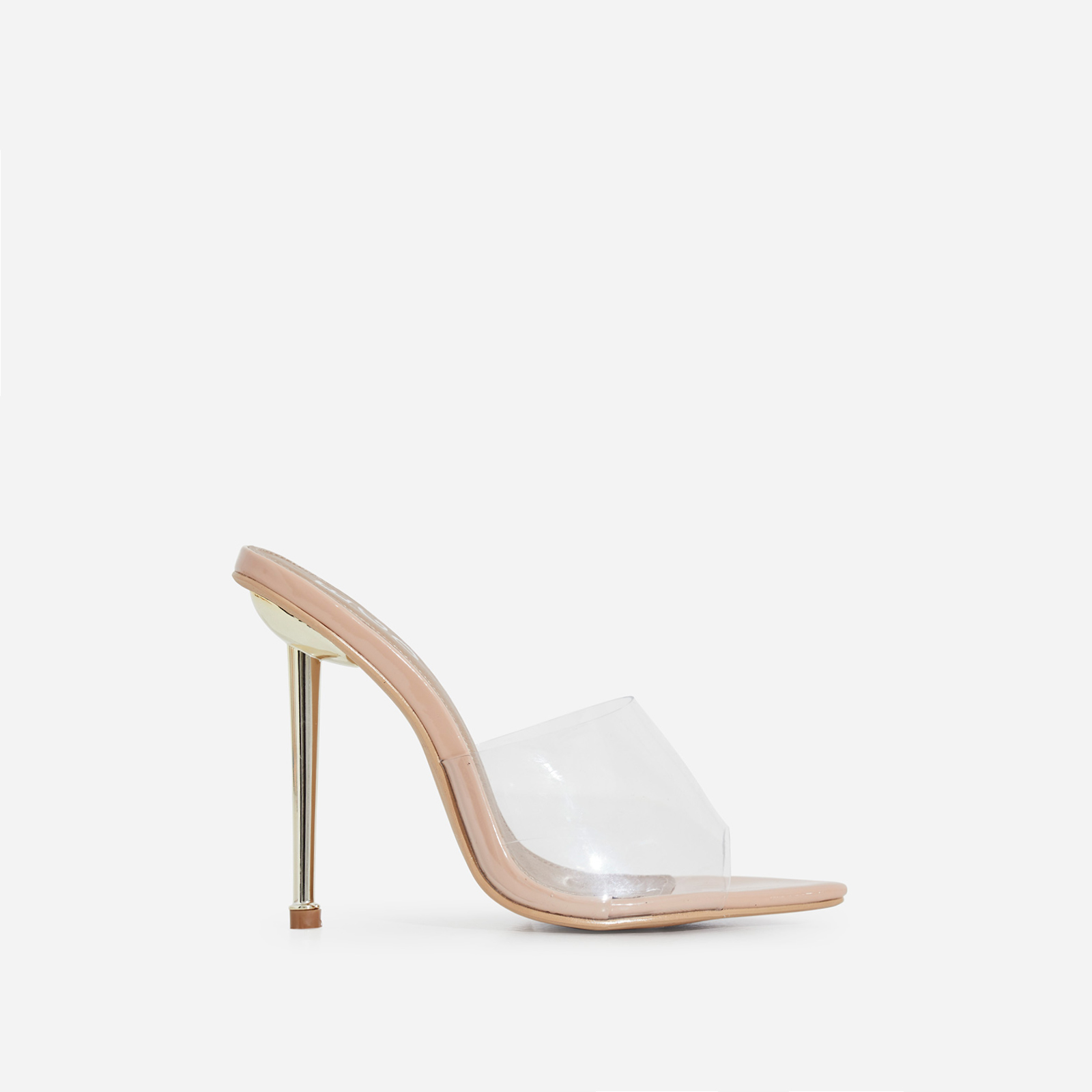 KingKing Perspex Pointed Peep Toe Heel Mule In Nude Patent