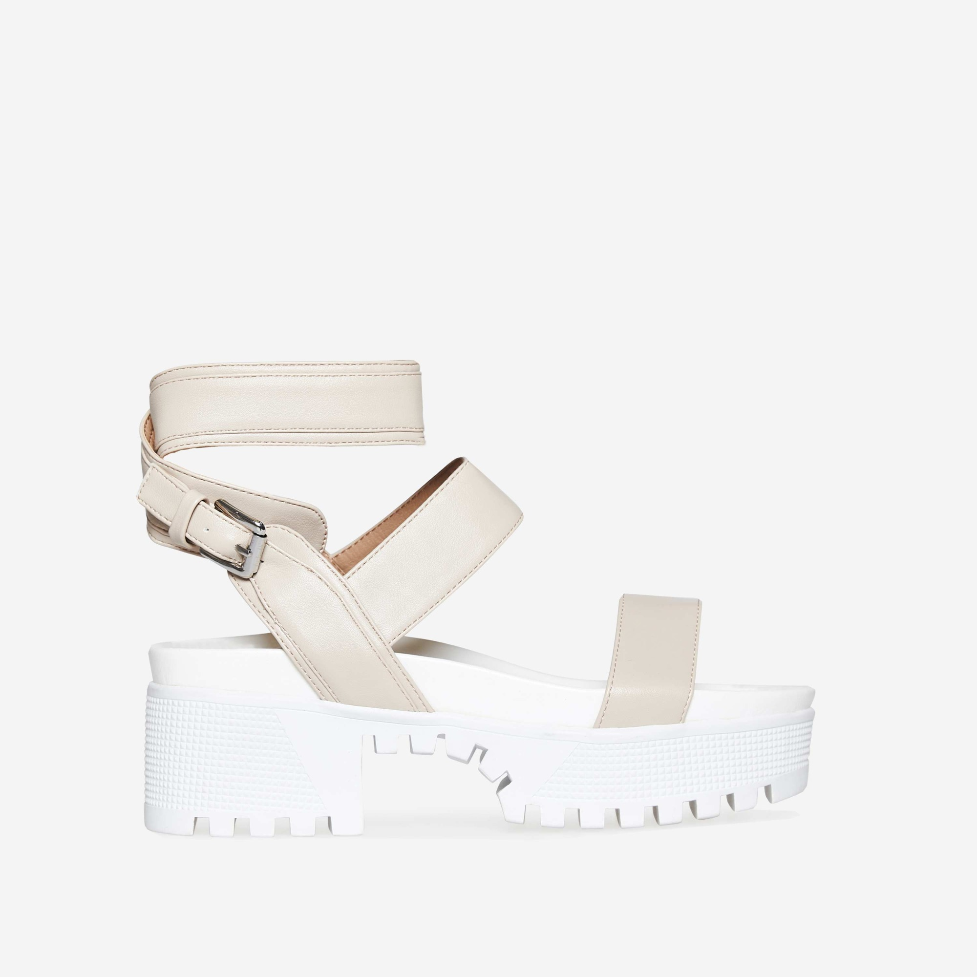 Kira Chunky Sandal In Nude Faux Leather