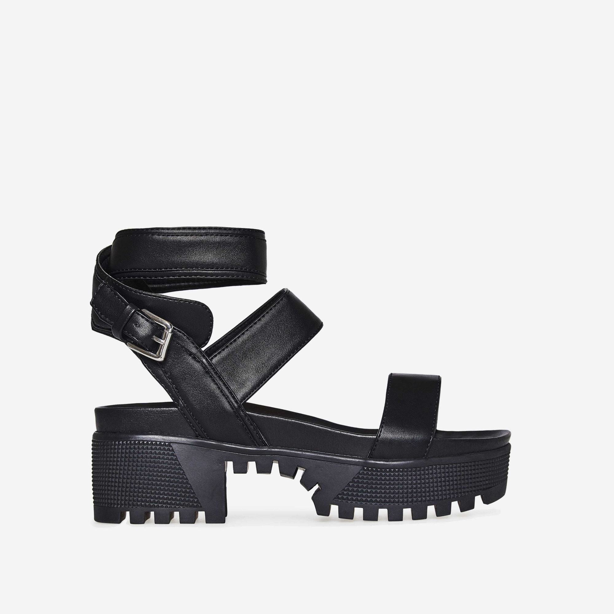 Kira Chunky Sandal In Black Faux Leather