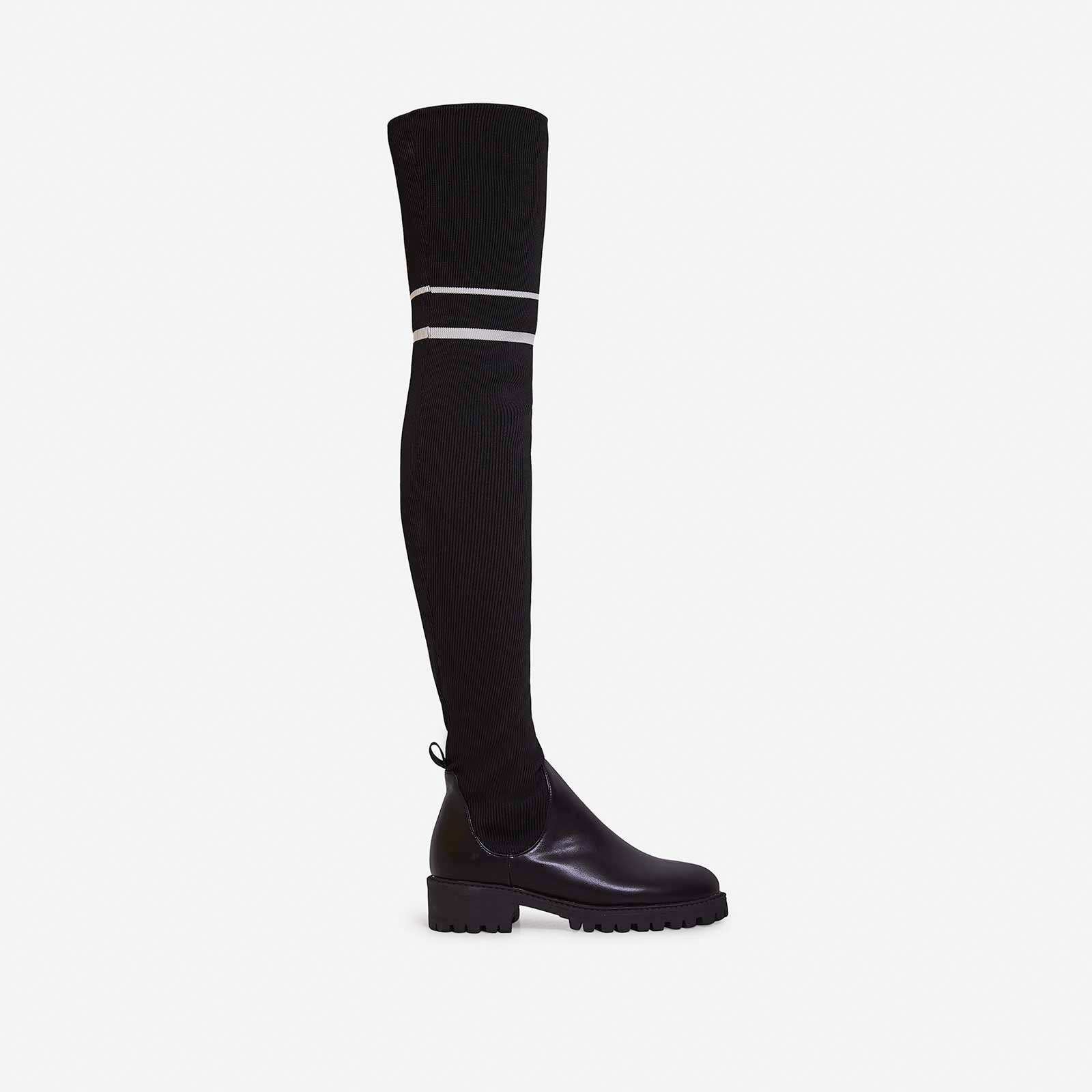 Koby Knitted Over The Knee Long Boot In Black Faux Leather