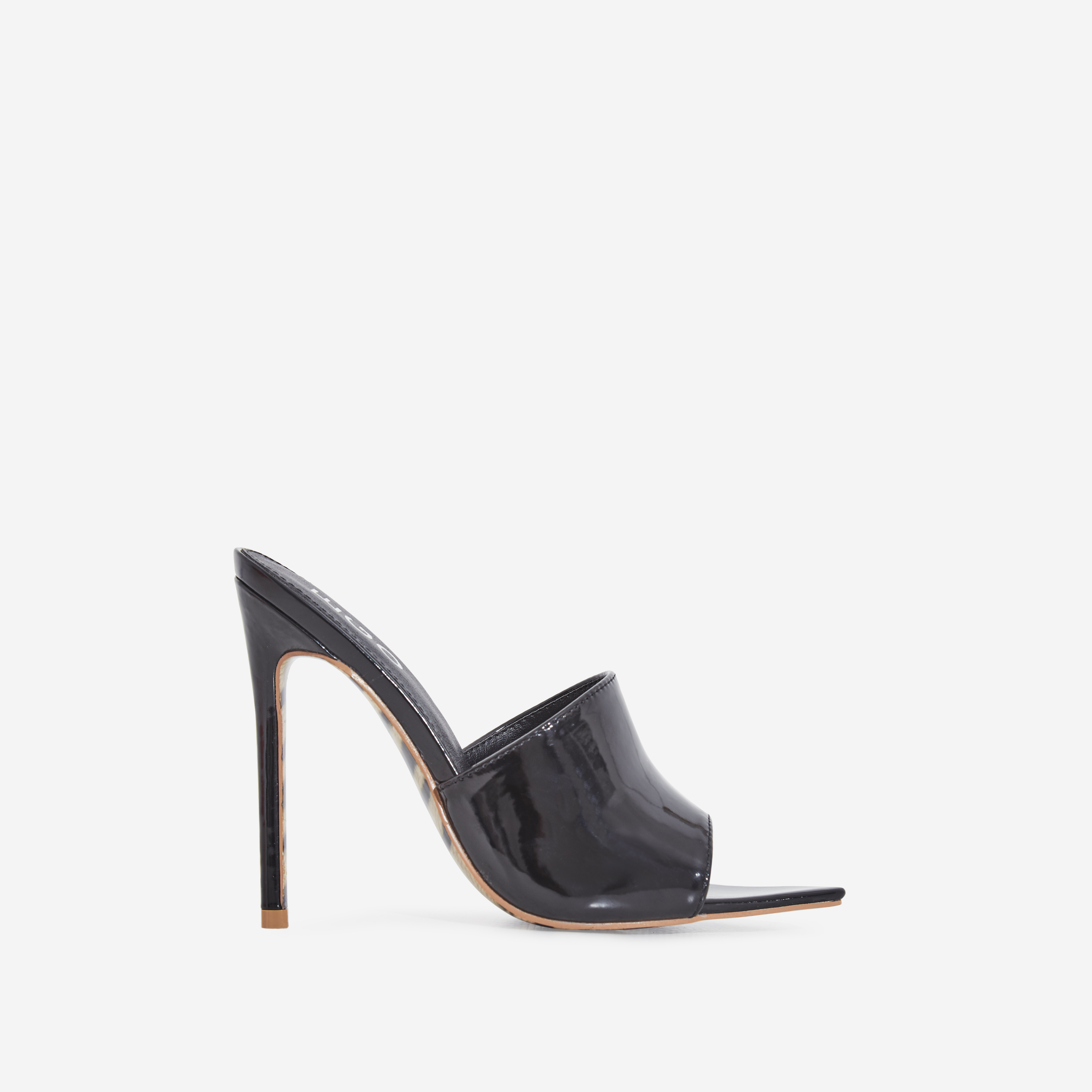 Koko Tiger Print Sole Pointed Peep Toe Mule In Black Patent