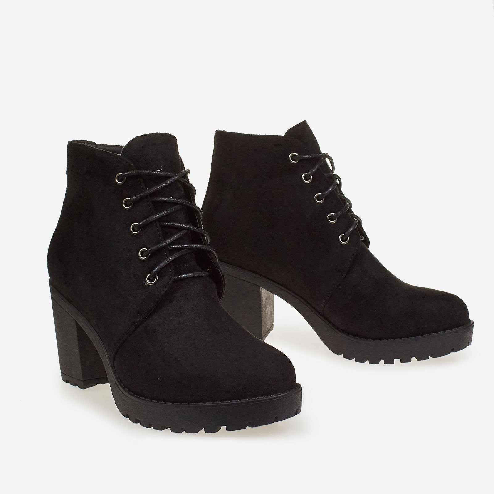 Ana Block Heel Lace Up Ankle Boot In Black Faux Suede