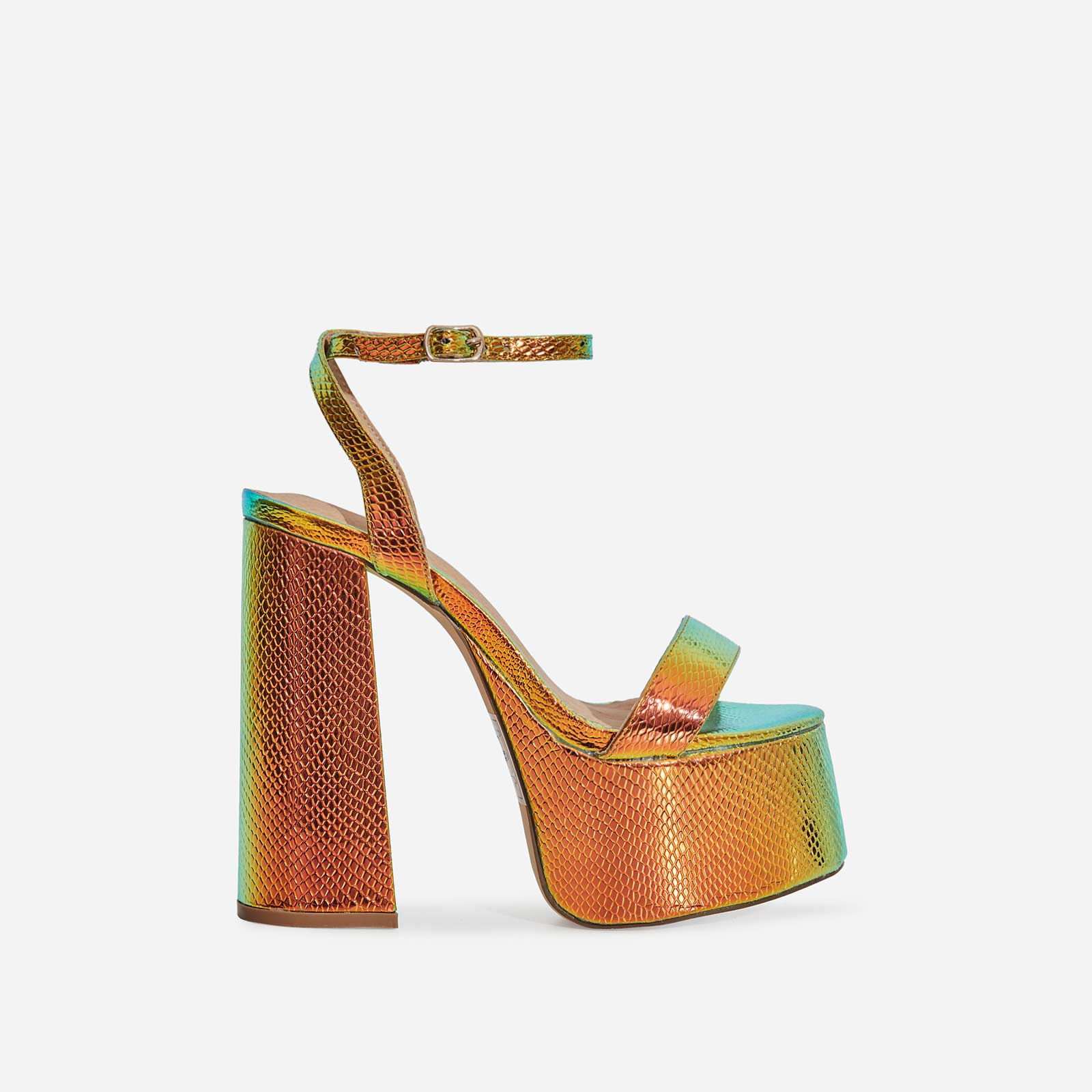 Lady Platform Block Heel In Metallic Green Snake Print Faux Leather