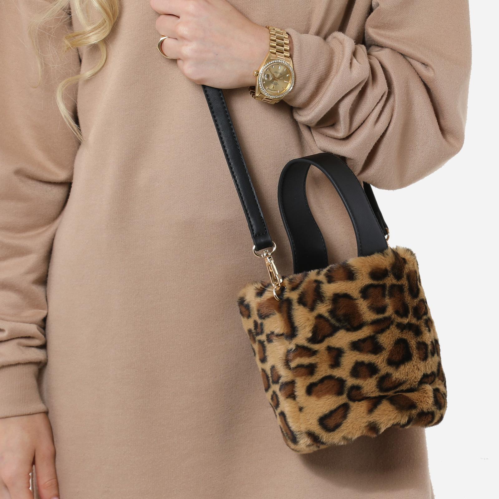 Bucket Bag In Leopard Print Faux Fur