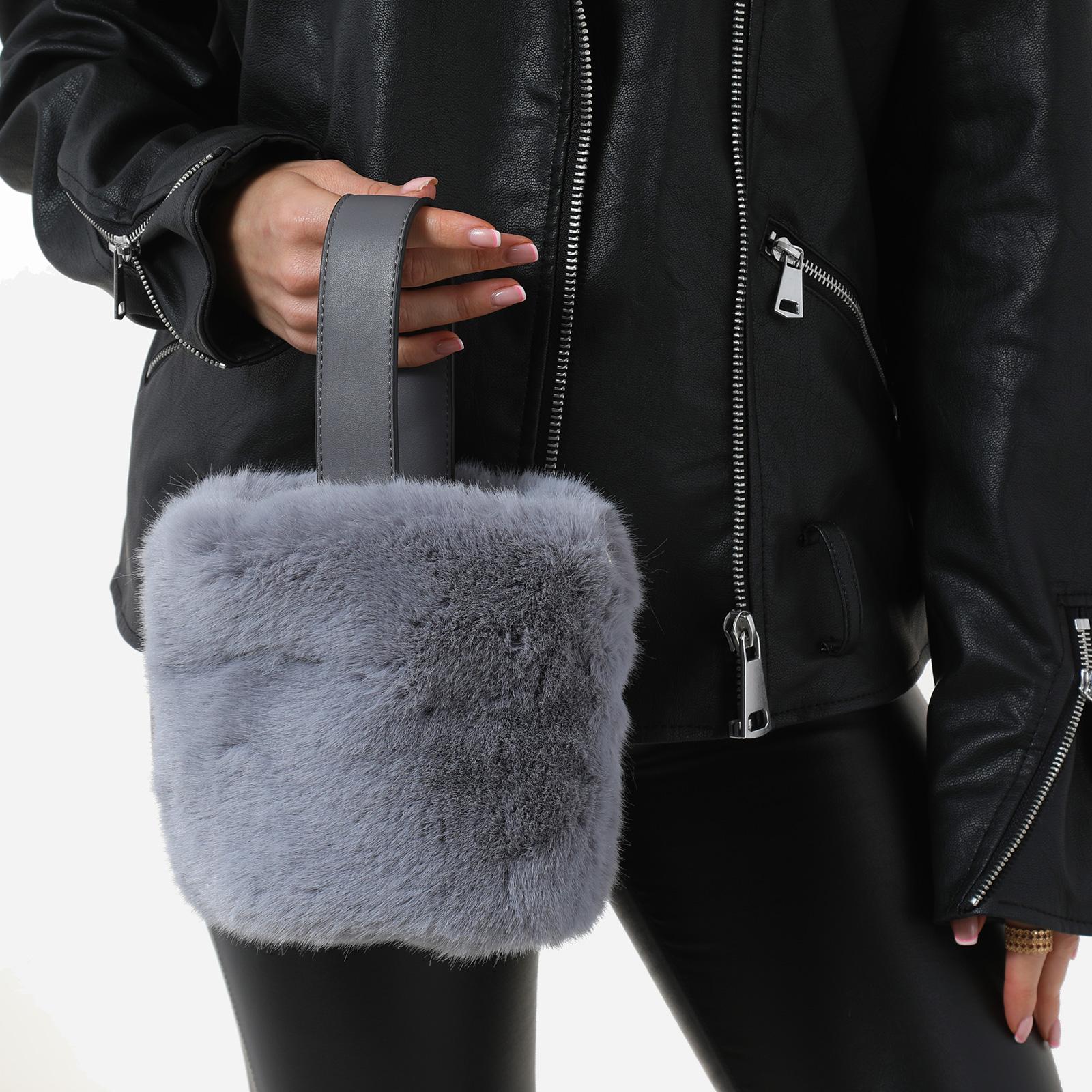 Bucket Bag In Grey Faux Fur