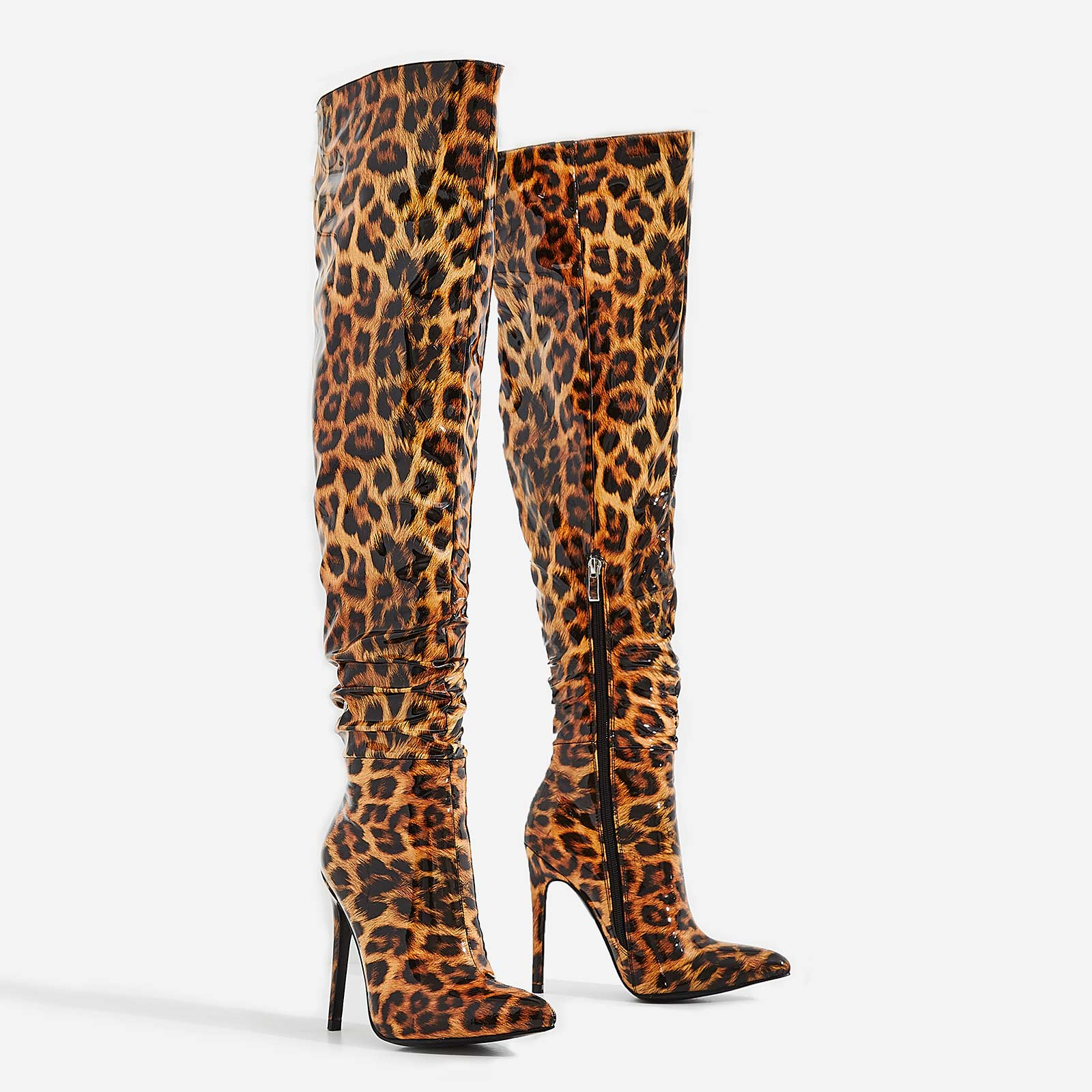Lara Thigh High Long Boots In Tan Leopard Print Patent