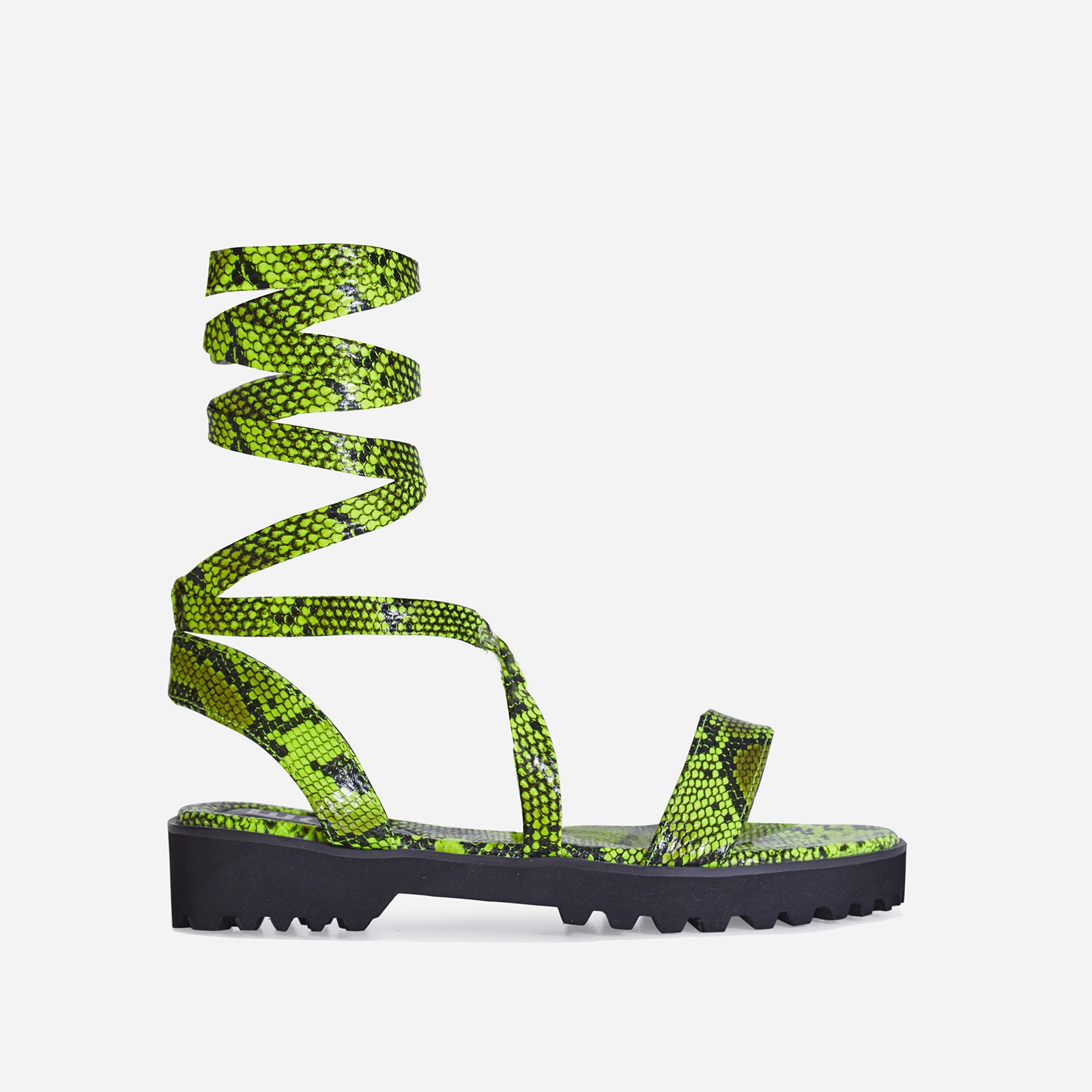 Larkin Lace Up Flat Sandal In Lime Green Snake Print Faux Leather