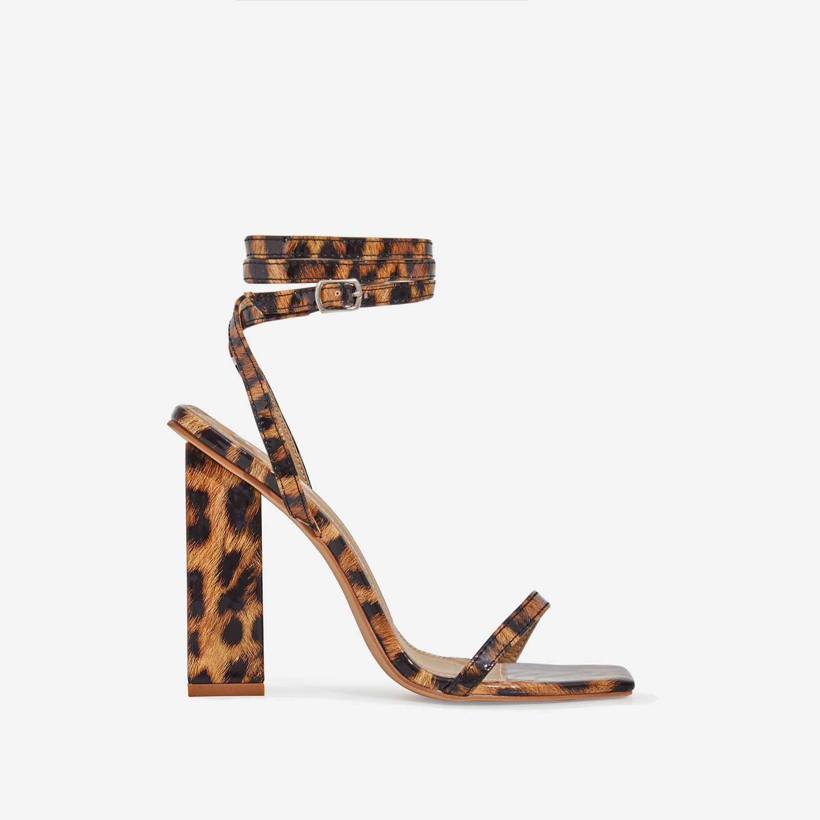 Lauve Lace Up Square Toe Block Heel In Tan Leopard Print Patent