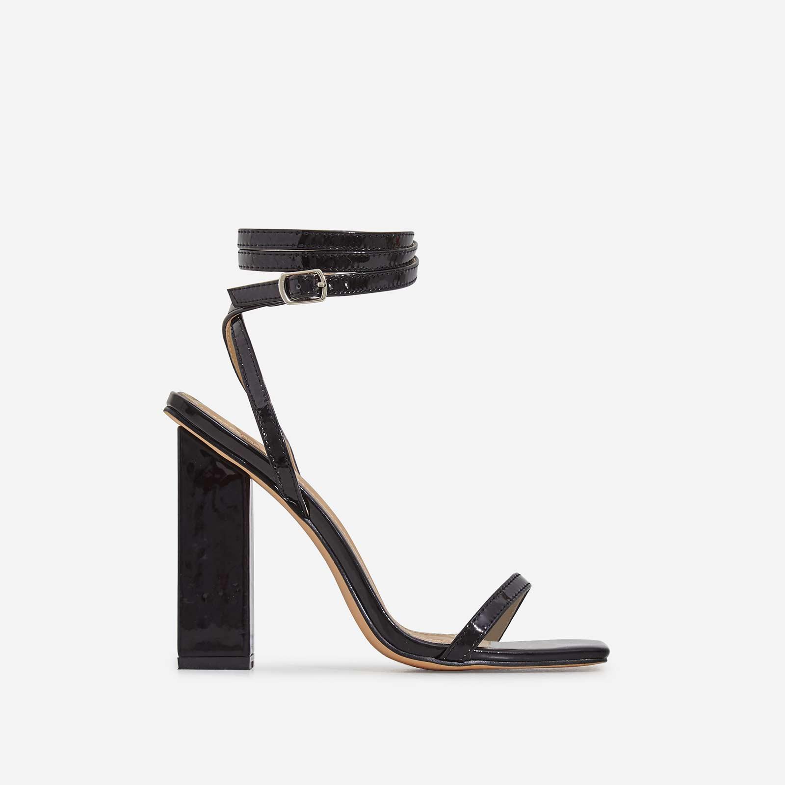 Lauve Lace Up Square Toe Block Heel In Black Patent