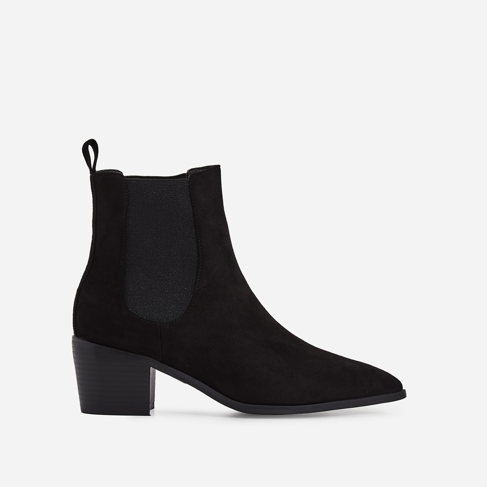 Leonie Ankle Chelsea Boot In Black Faux Suede