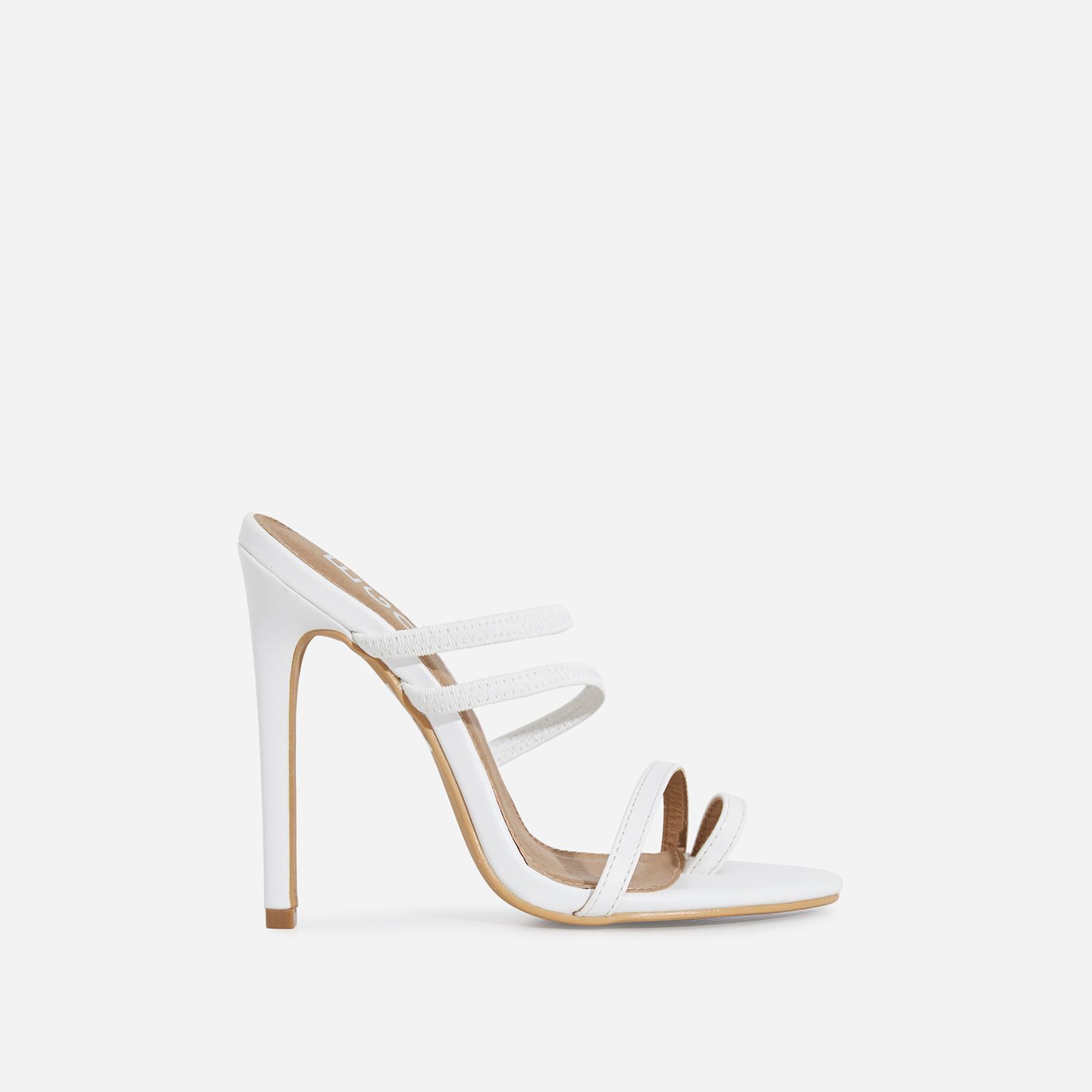 Letty Toe Strap Heel Mule In White Faux Leather