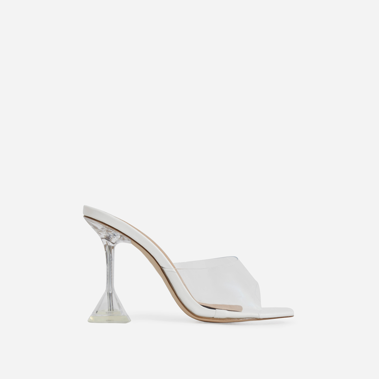 Lila Square Toe Perspex Heel Mule In White Faux Suede