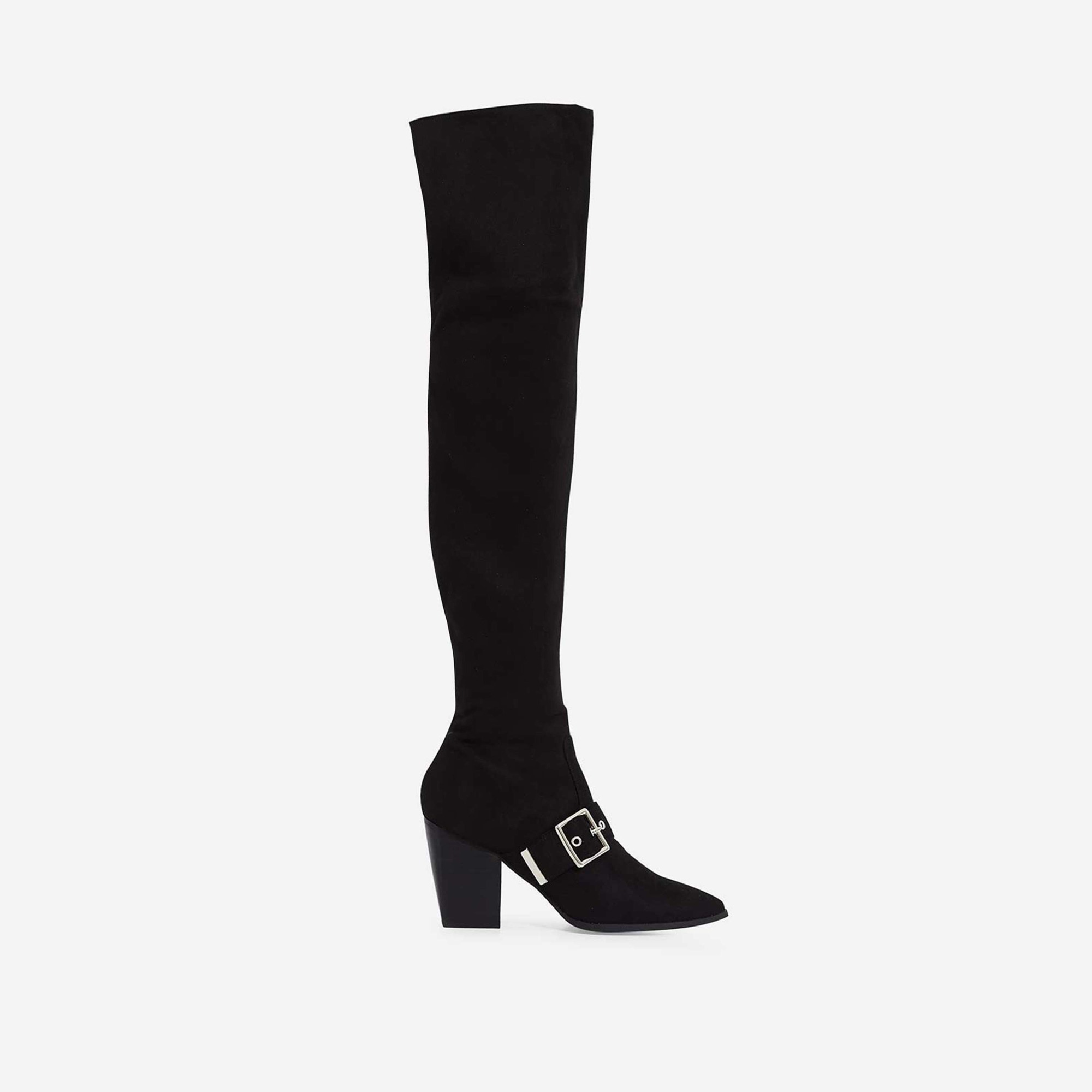 Lily Buckle Detail Over The Knee Long Boot In Black Faux Suede