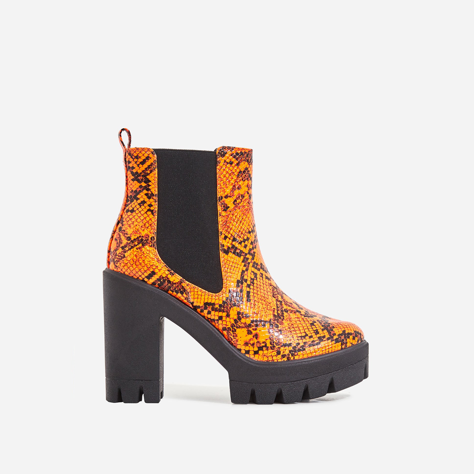 Liya Chunky Sole Ankle Chelsea Boot In Neon Orange Snake Print Patent