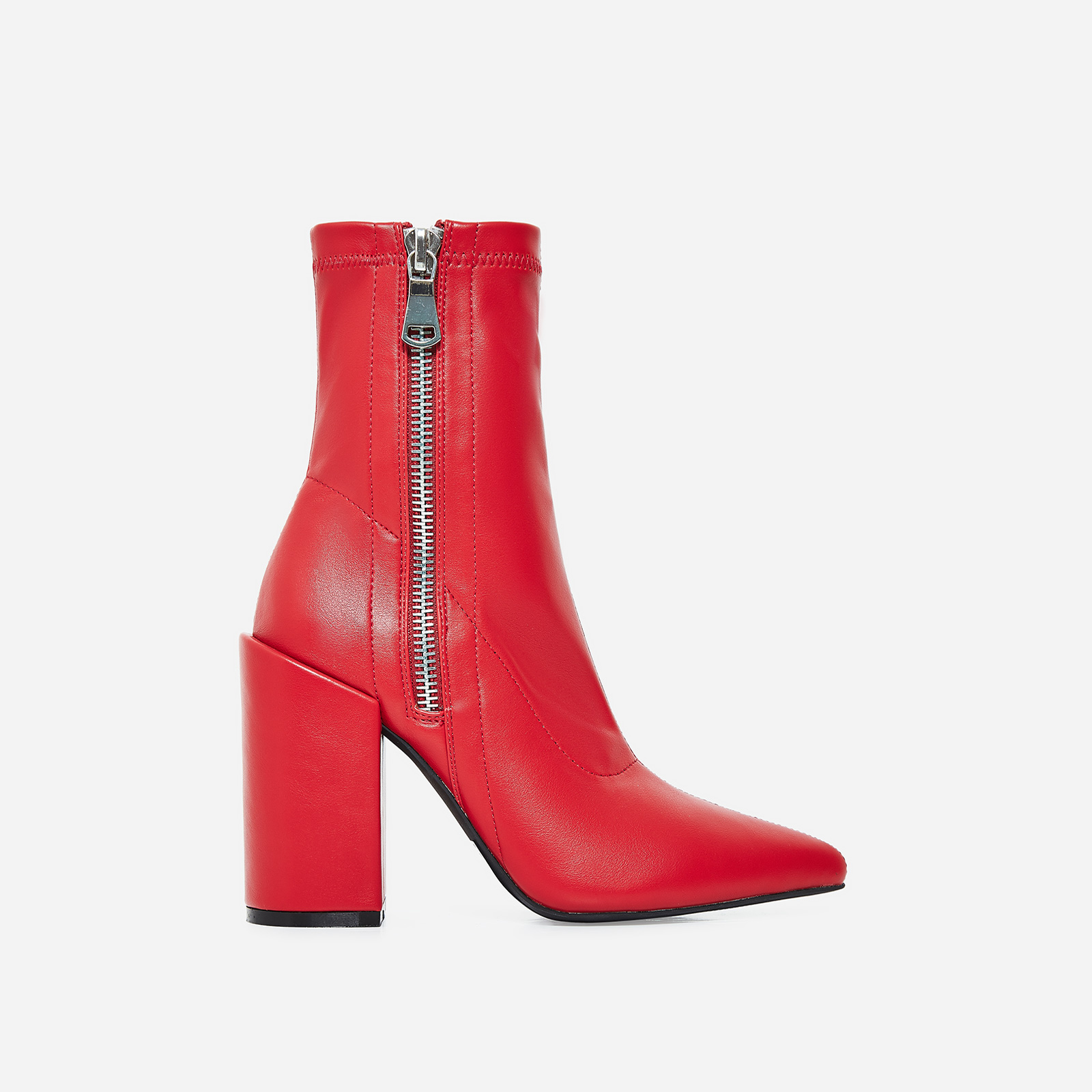 Lucian Block Heel Ankle Boot I Red Faux Leather