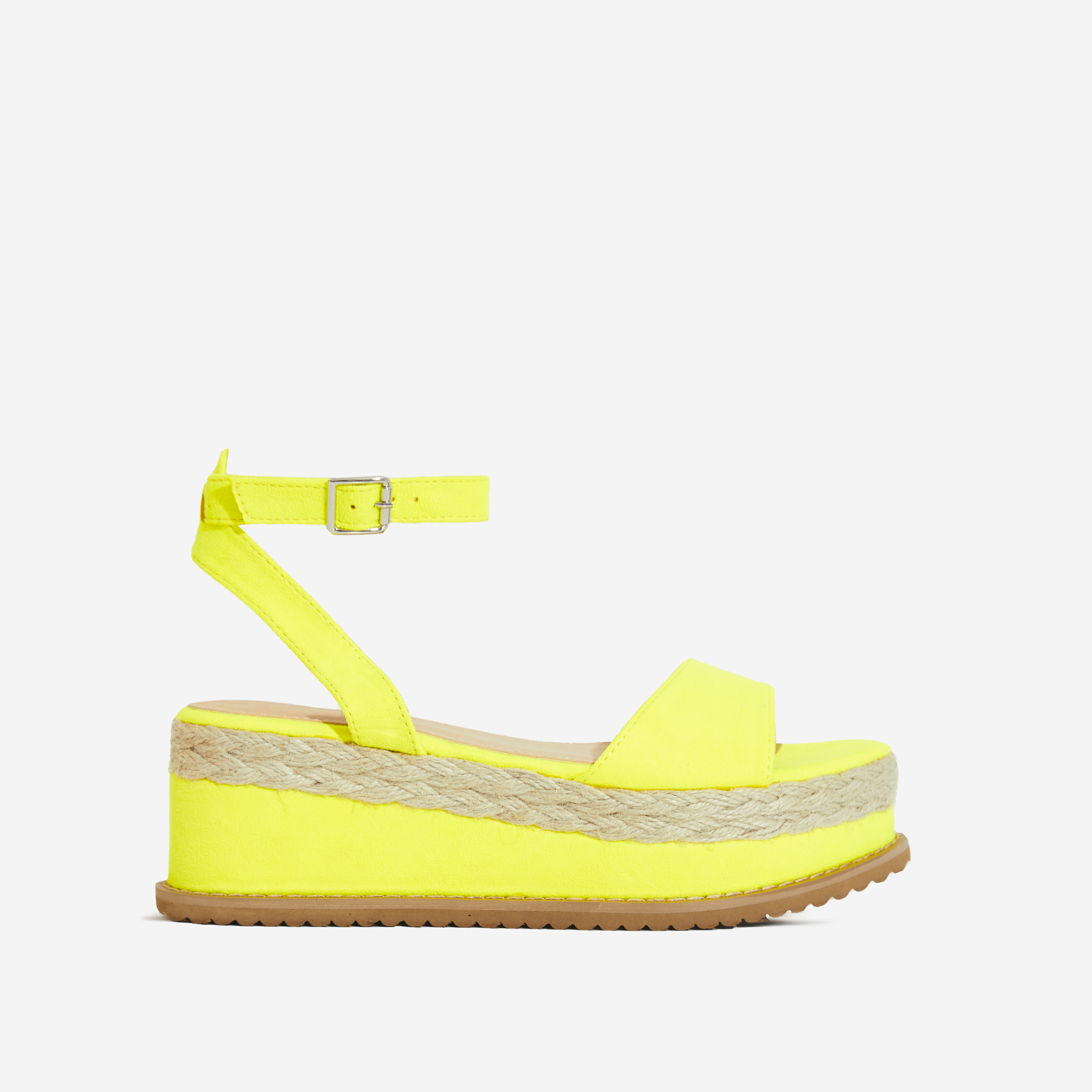 Lucie Espadrille Flatform In Neon Yellow Faux Suede