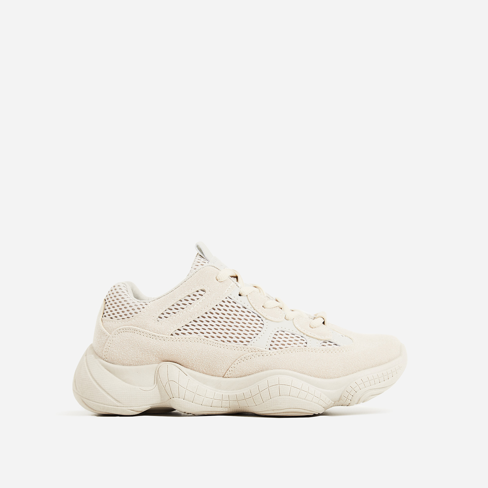 Kane Chunky Sole Mesh Trainer In Nude Suede