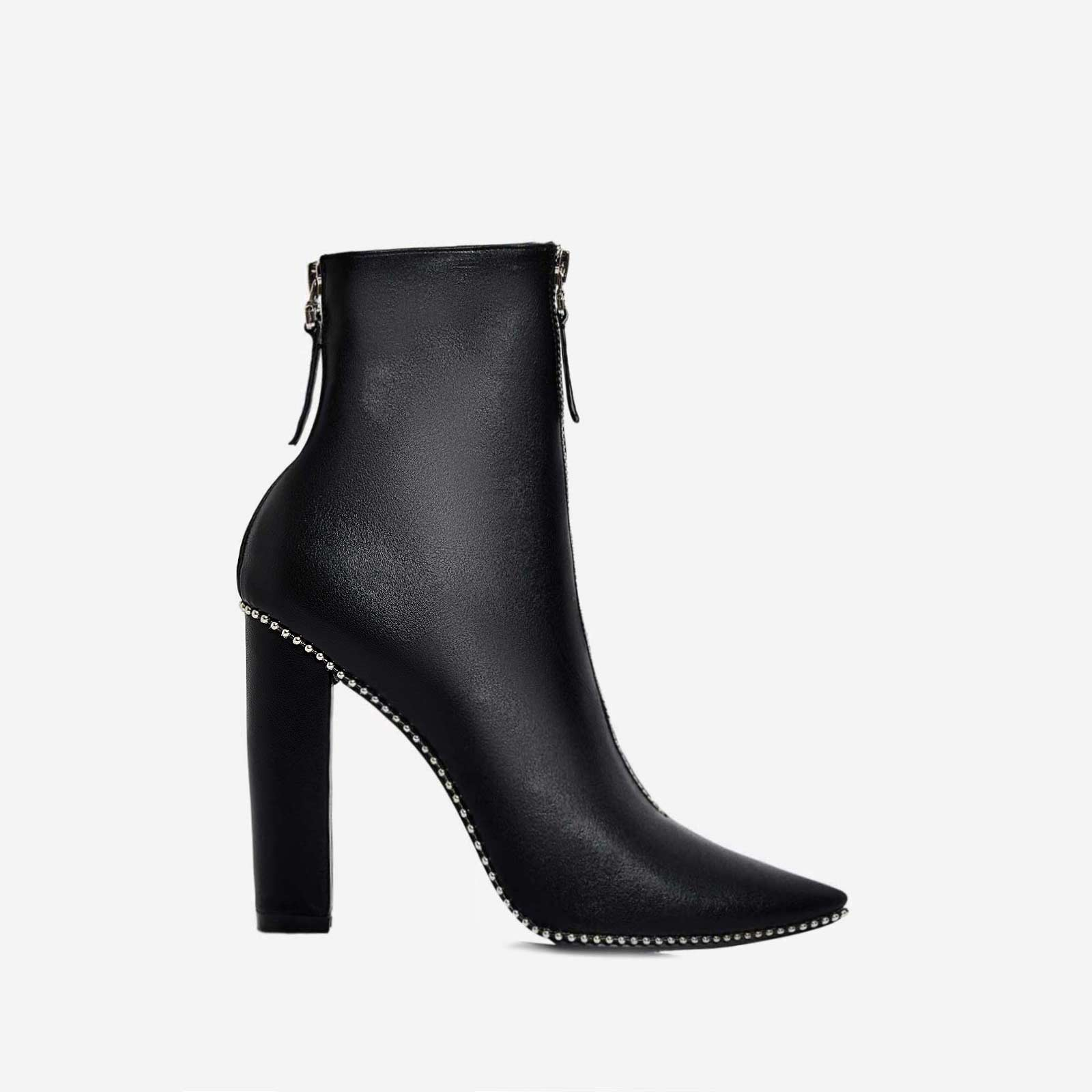 Mabel Studded Detail Block Heel Ankle Boot In Black Faux Leather