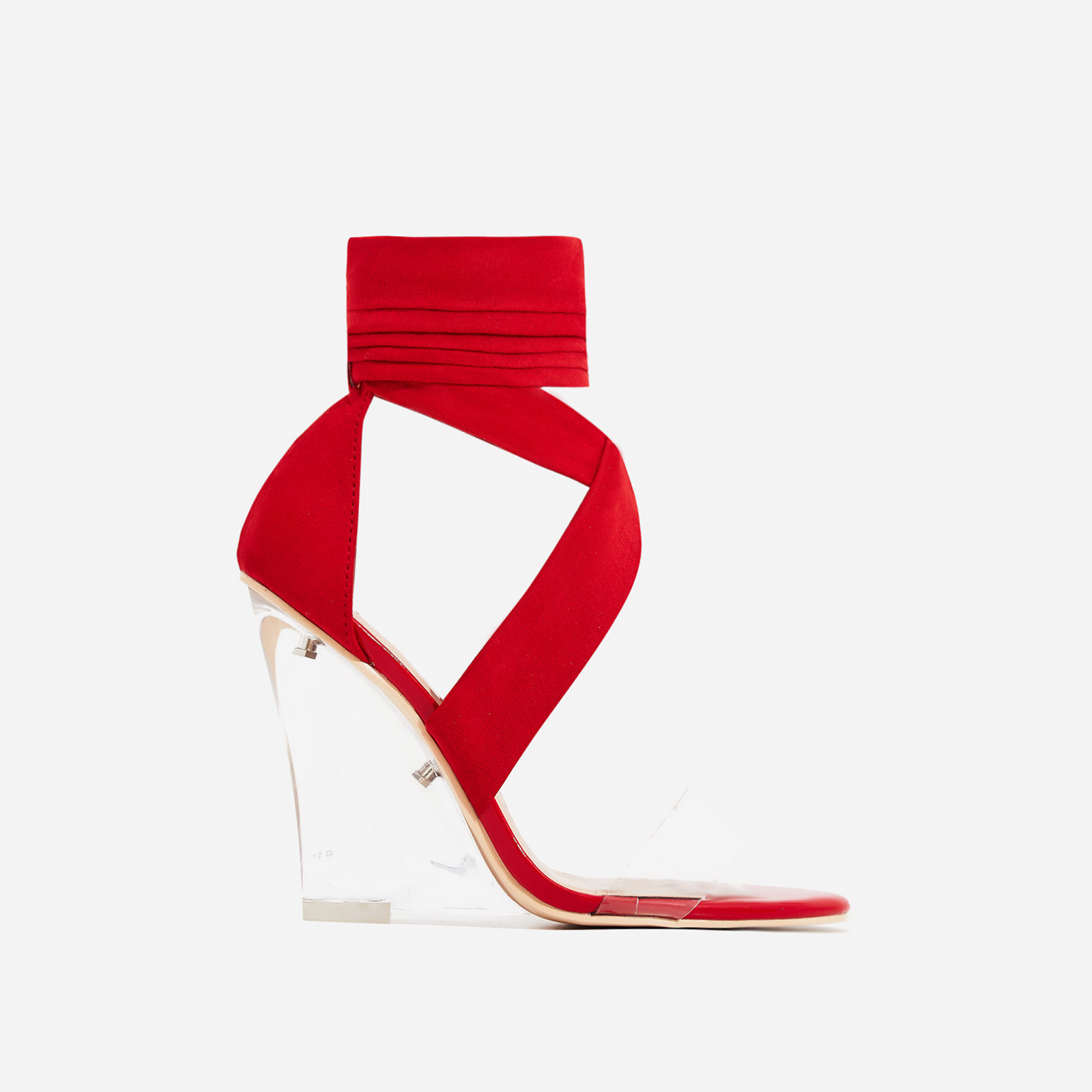 Mai Perspex Wedge Lace Up Heel In Red Faux Suede