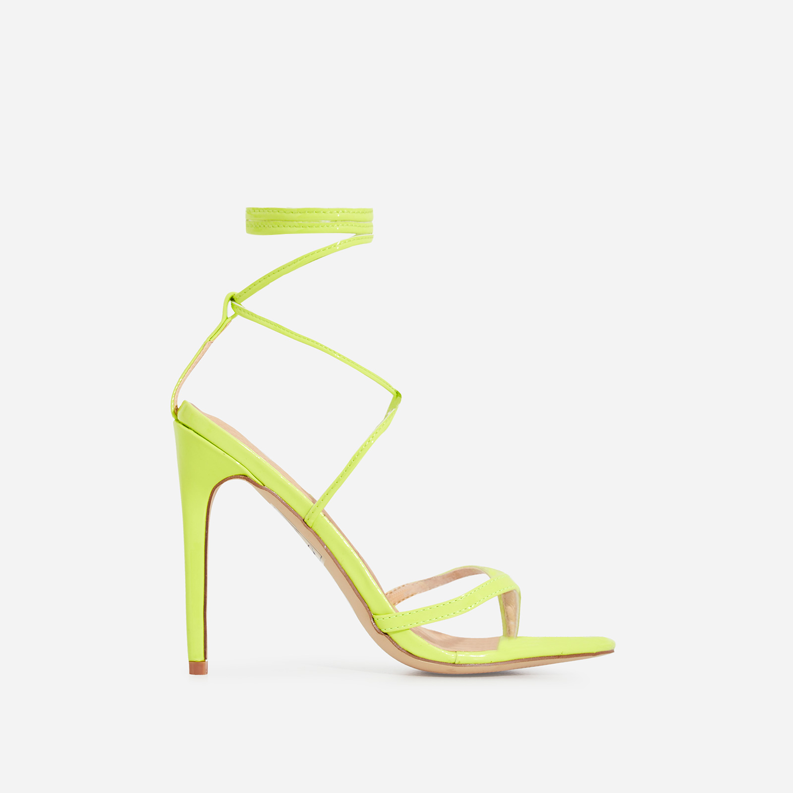 Malina Lace Up Heel In Neon Green Patent