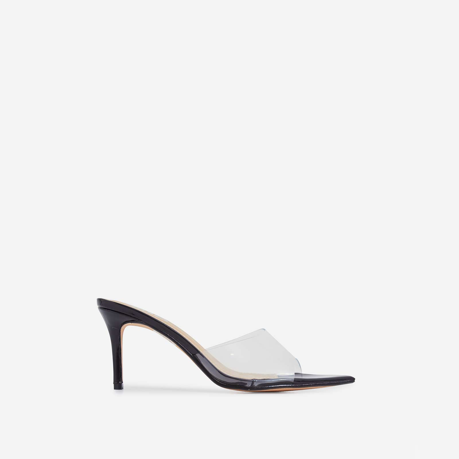 Maelle Pointed Peep Toe Perspex Heel Mule In Black Patent