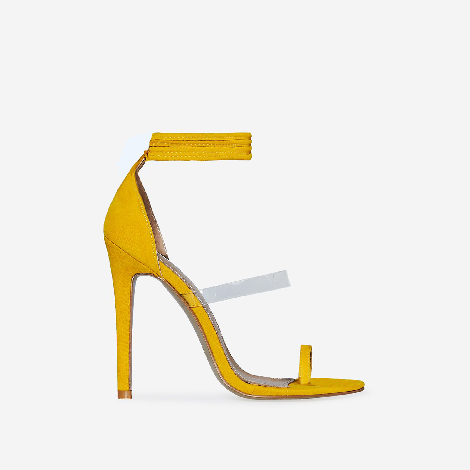 Marietta Lace Up Perspex Heel In Yellow Faux Suede