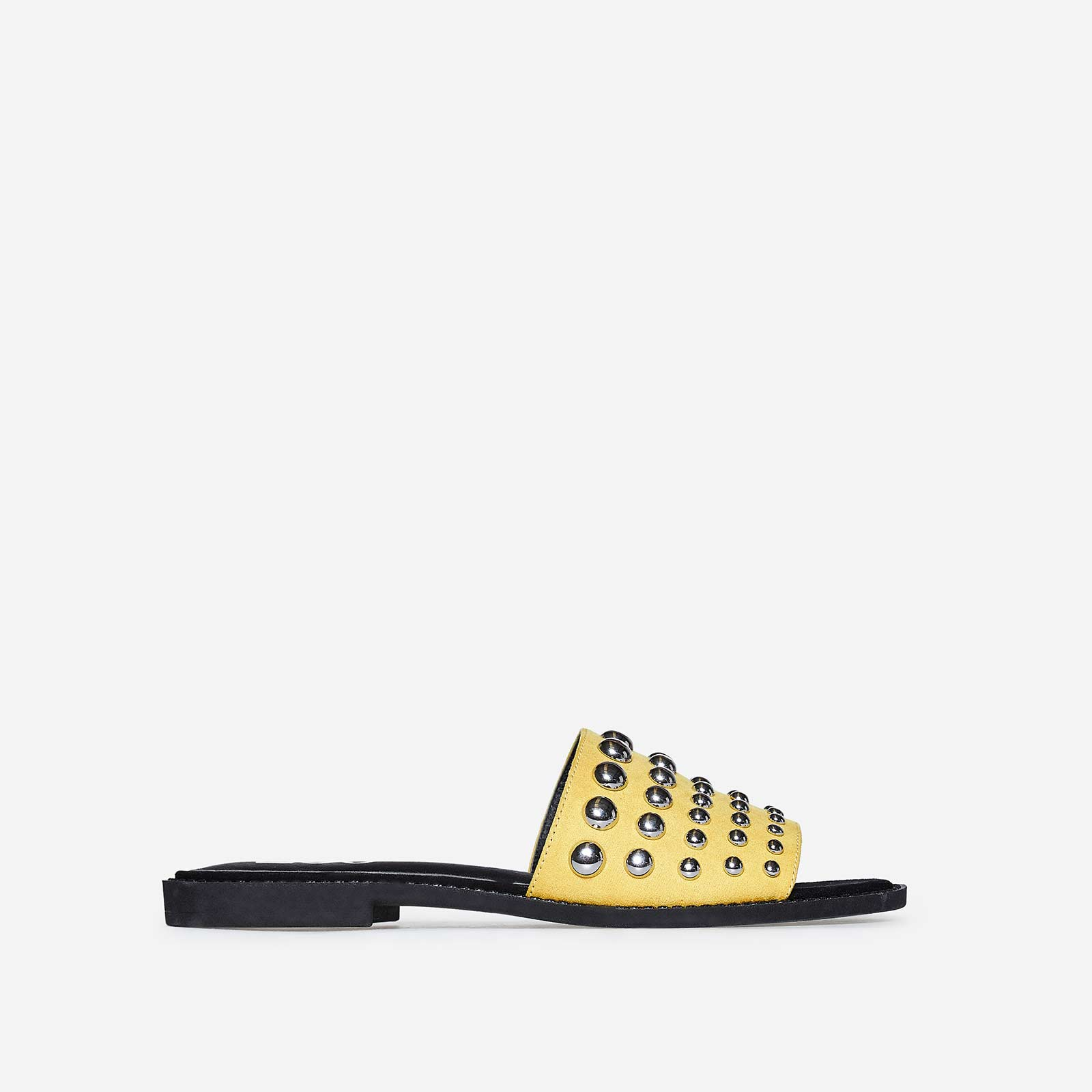 Marcia Studded Detail Slider In Mustard Faux Suede