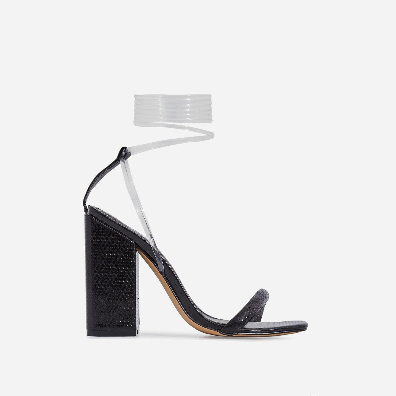 Mariah Perspex Lace Up Block Heel In Black Snake Print Patent