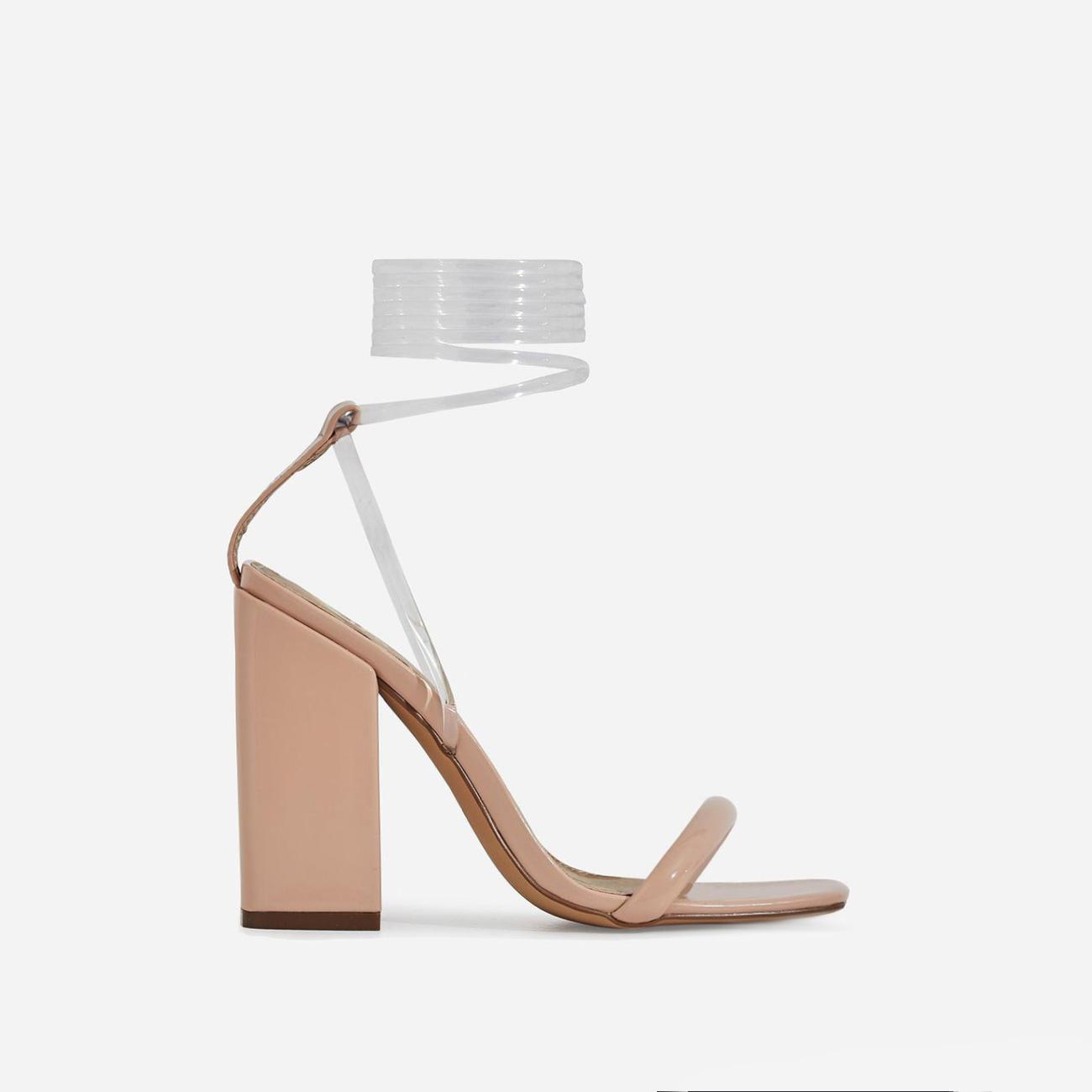 Mariah Perspex Square Toe Lace Up Block Heel In Nude Patent