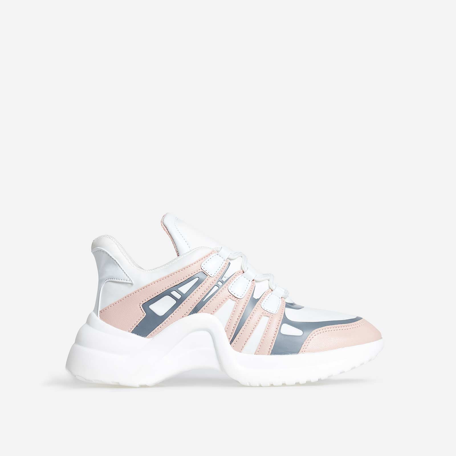 Marisa Wave Sole Trainer In White And Pink Faux Leather