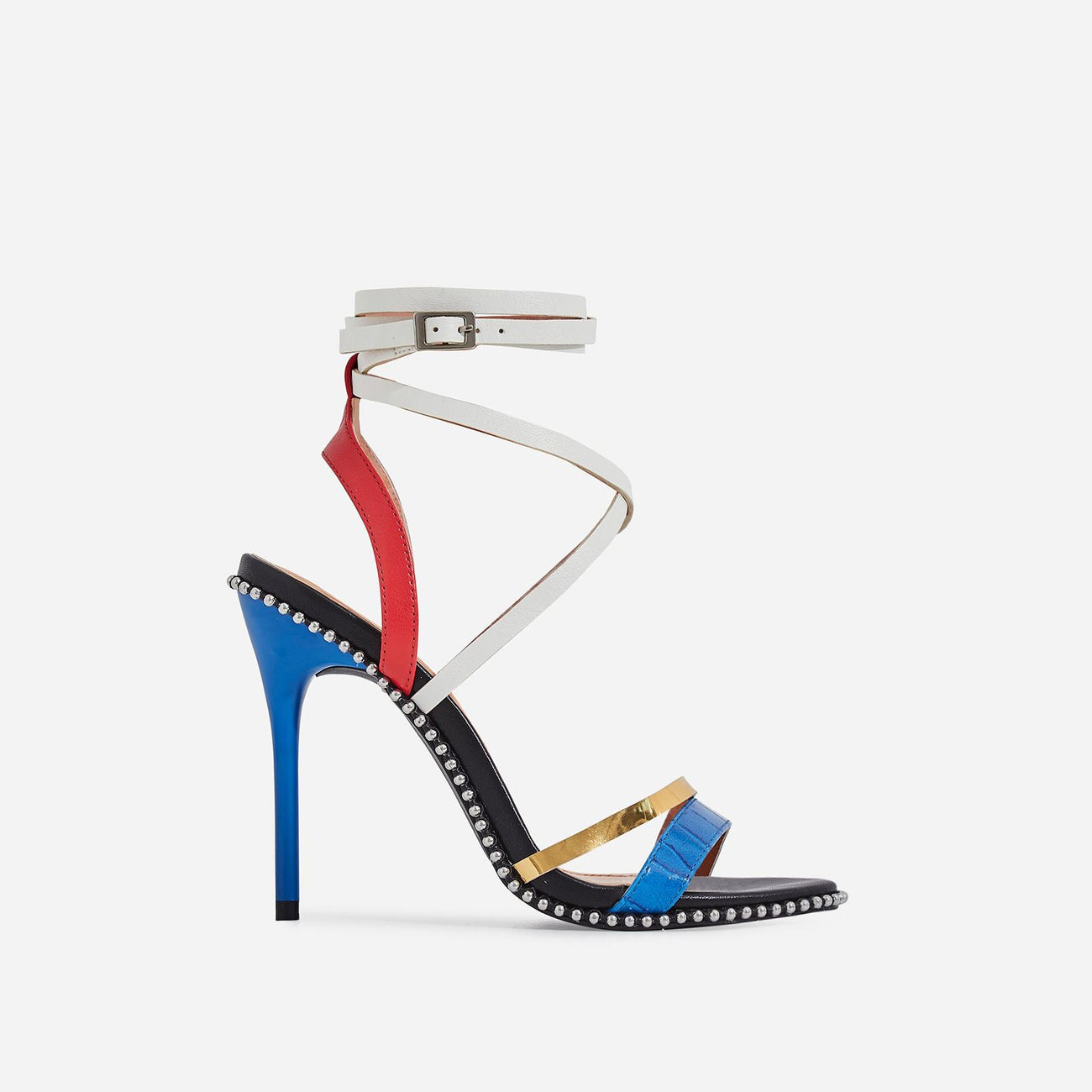 Marisa Studded Detail Lace Up Heel In Multi Colour Faux Leather