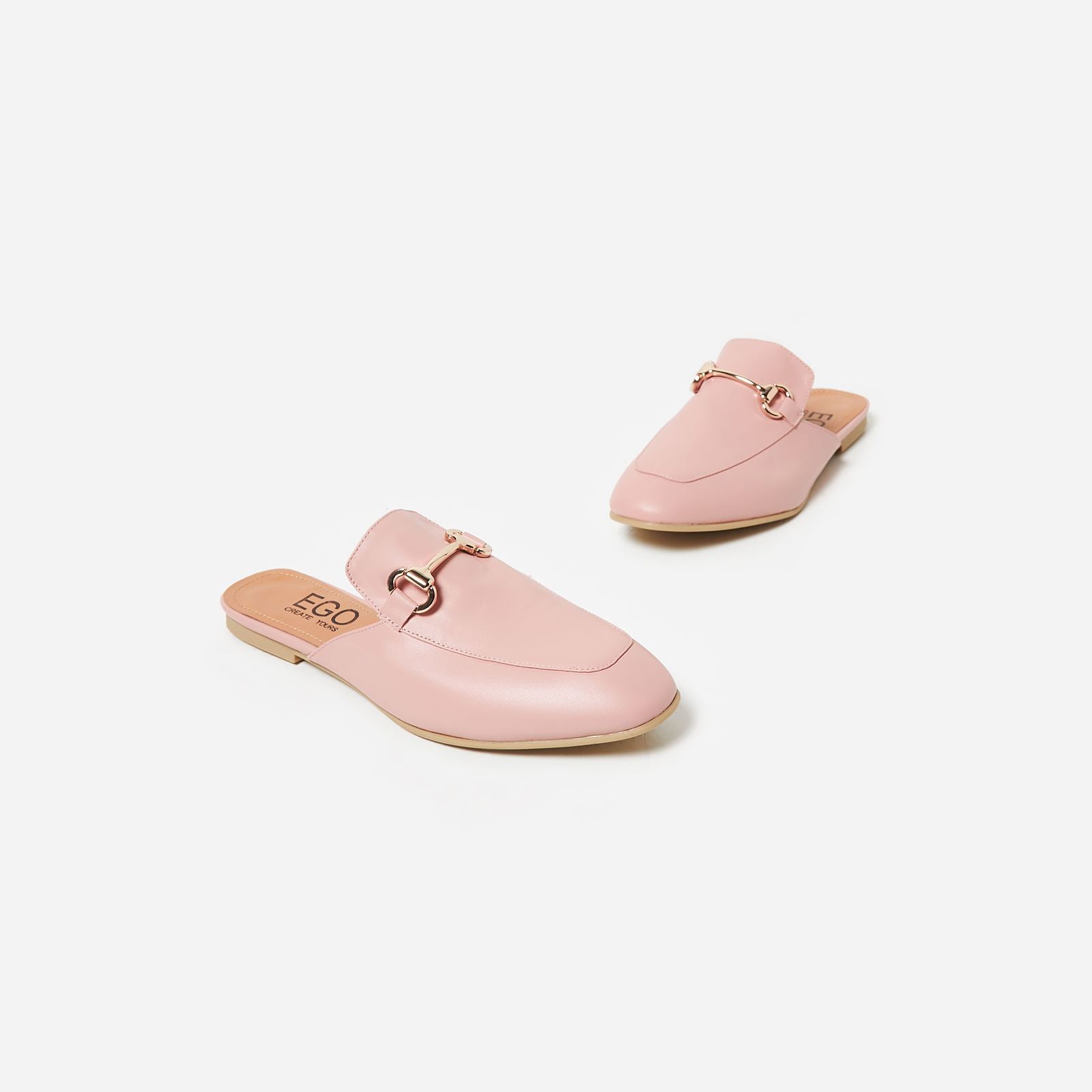 Miley Flat Mule In Pink Faux Leather Image 1