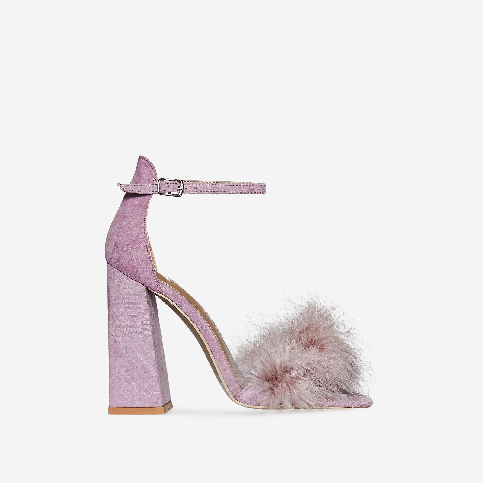 Marley Fluffy Flared Block Heel In Lavender Faux Suede