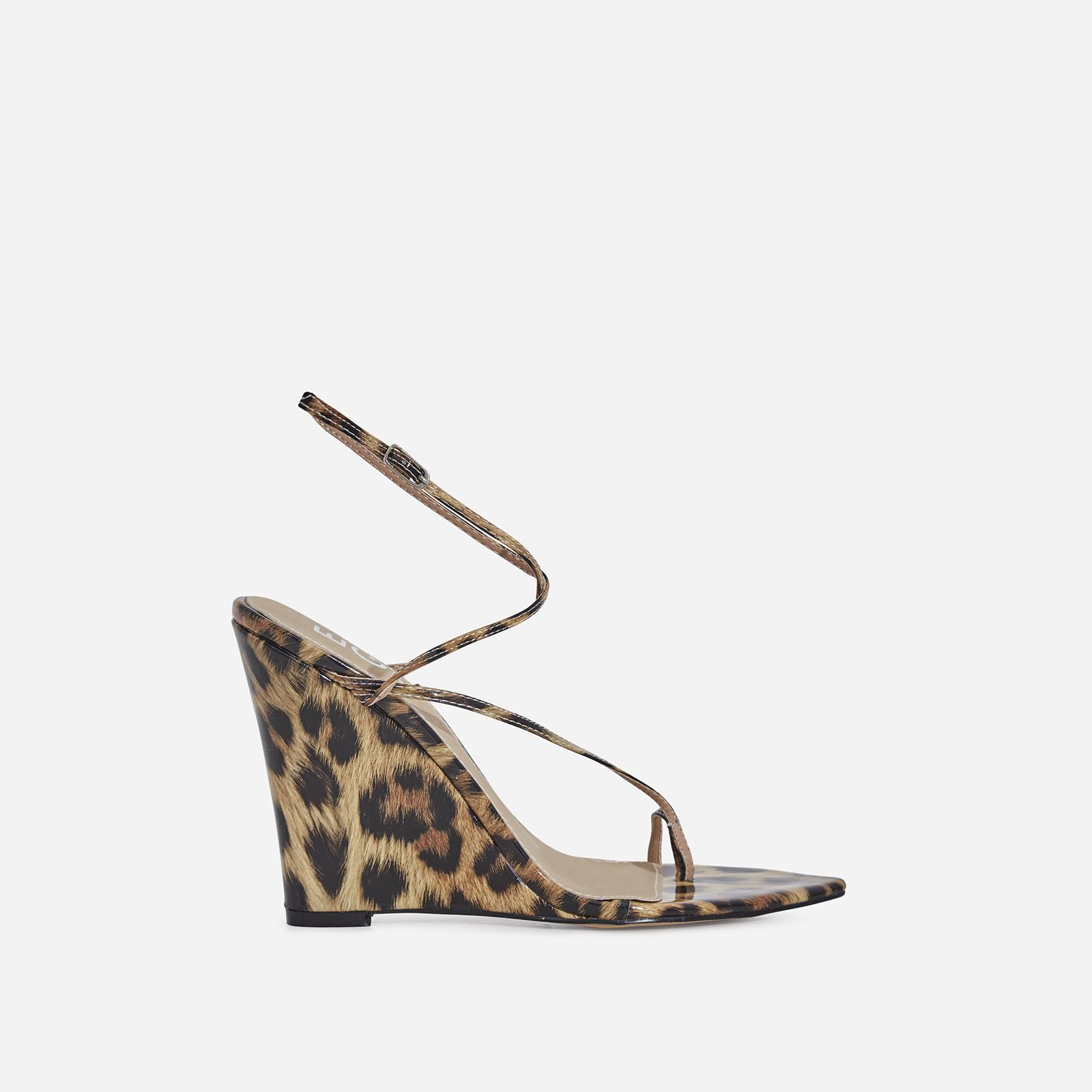 Melanie Toe Strap Wedge Heel In Leopard Print Patent