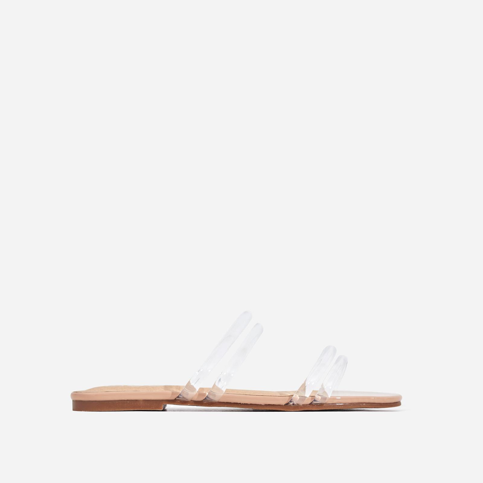 Mendez Perspex Flat Sandal In Nude Patent