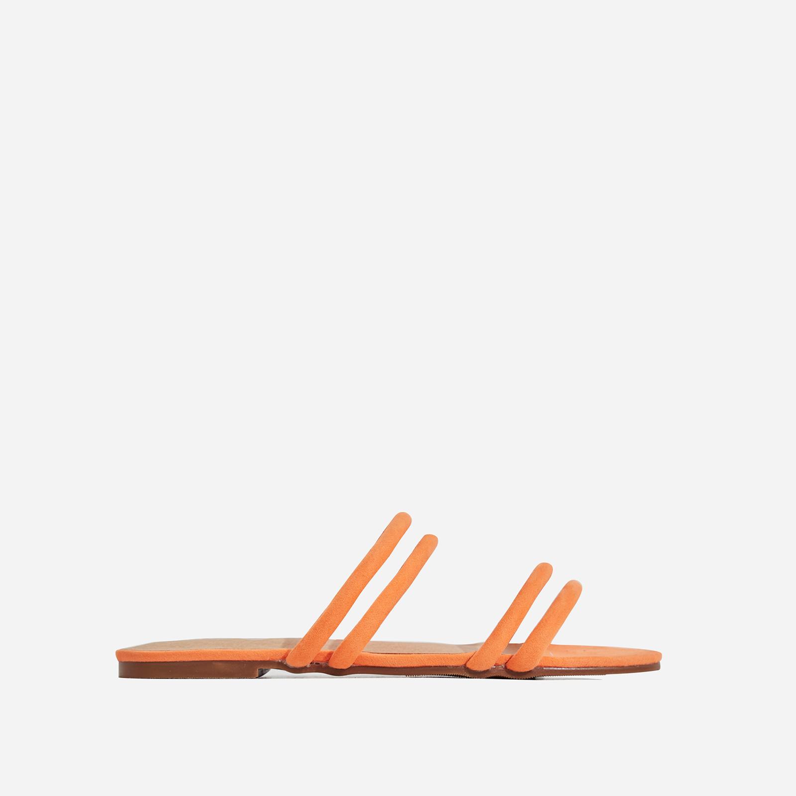 Mendez Flat Sandal In Orange Faux Suede