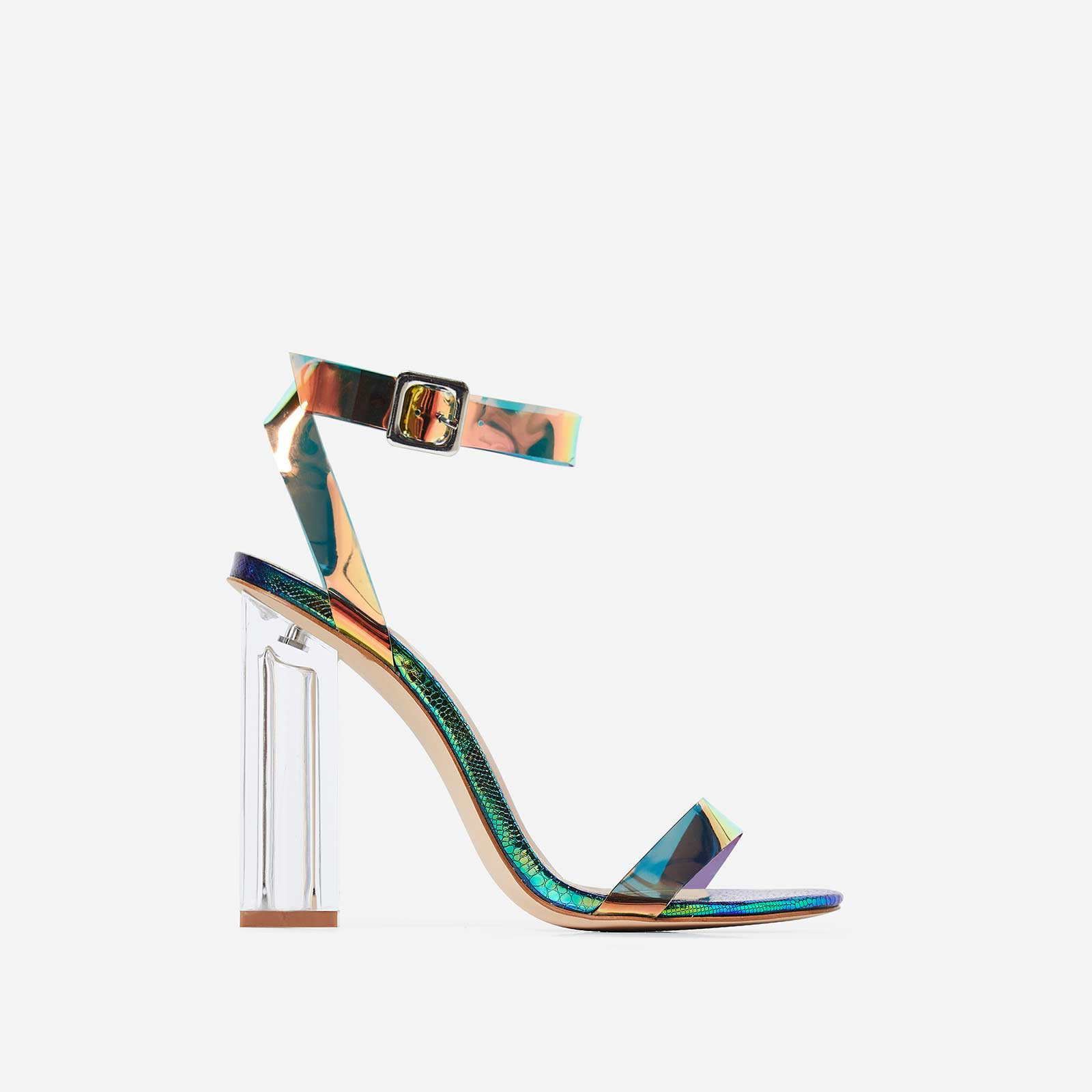 Mercie Barely There Perspex Block Clear Heel In Green Snake Print Faux Leather