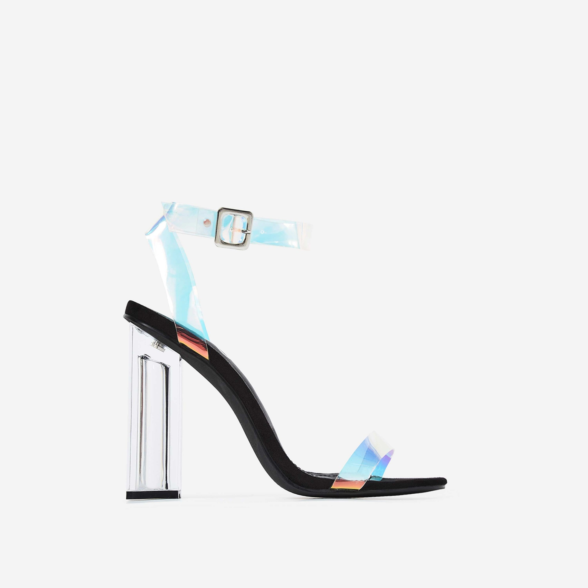 Mercie Barely There Perspex Block Heel In Black Faux Suede
