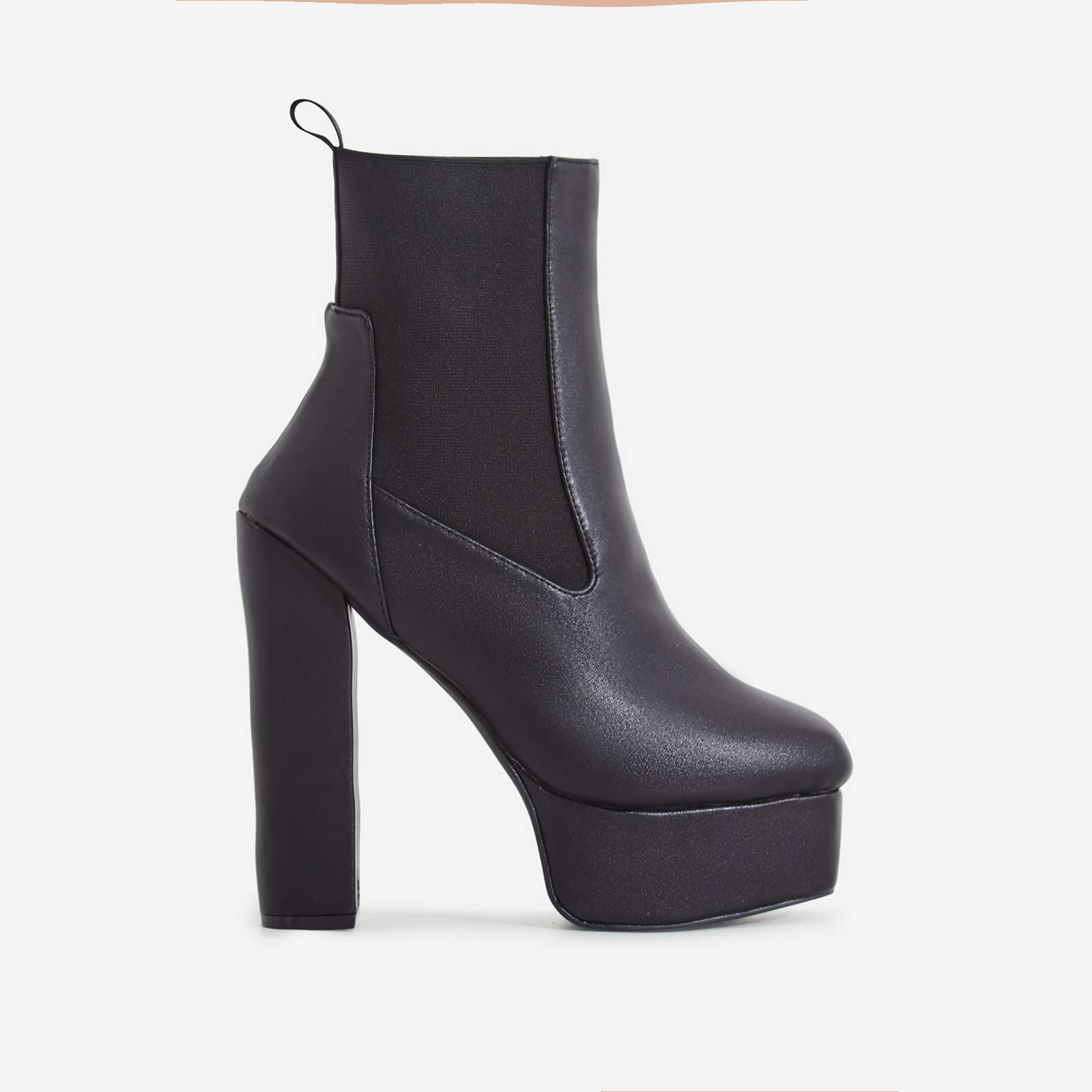 Harleen Square Toe Platform Ankle Biker Boot In Black Faux Leather