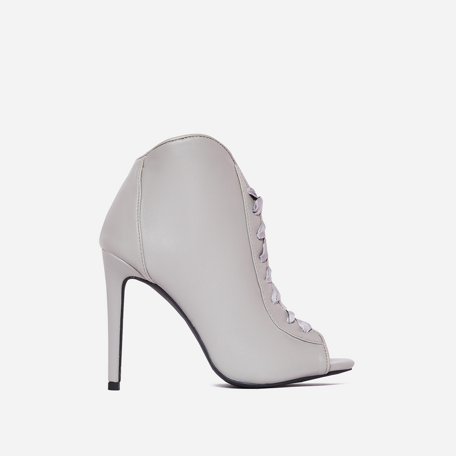 Klara Peep Toe Lace Up Ankle Boot In Grey Faux Leather