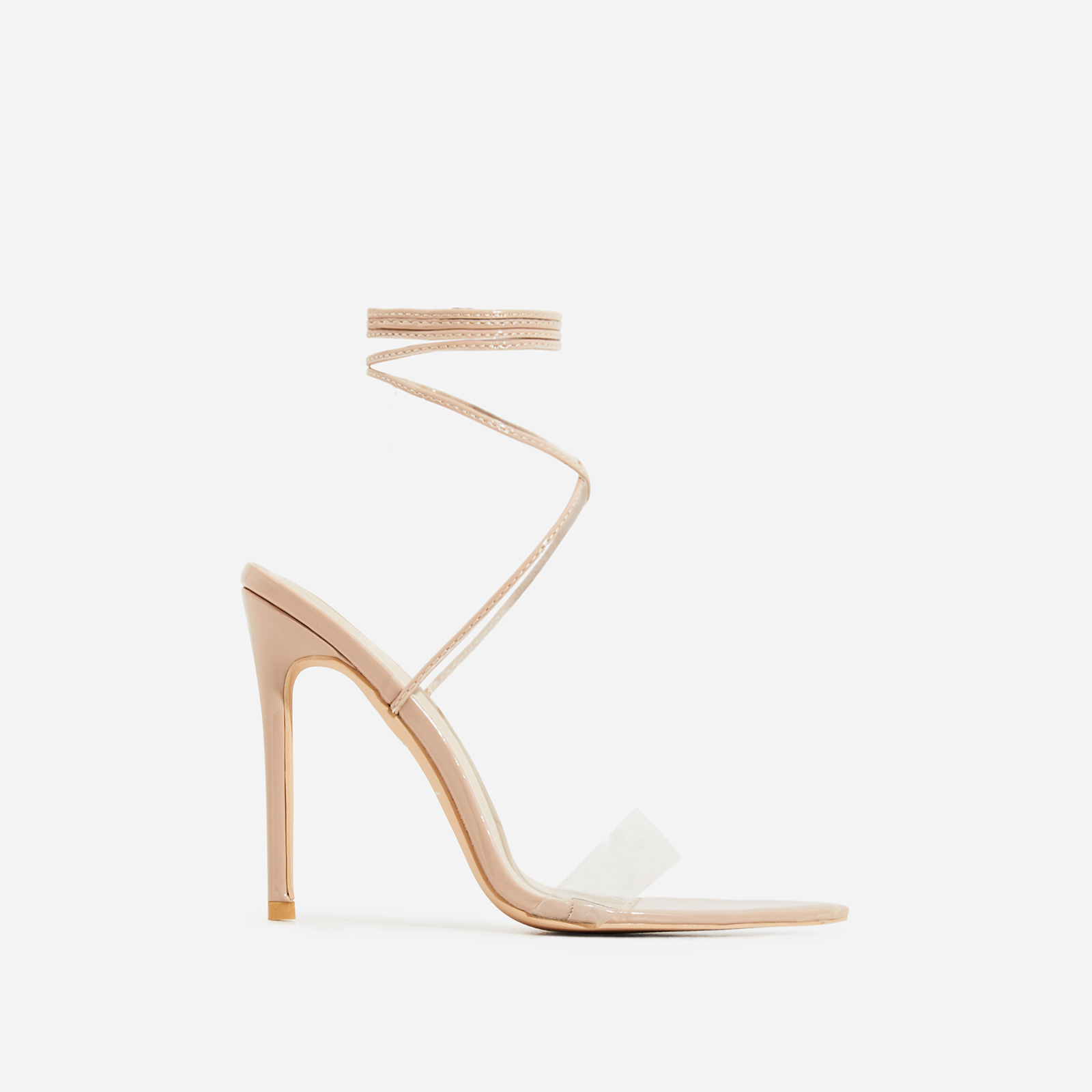 Miami Lace Up Perspex Pointed Heel In Nude Patent
