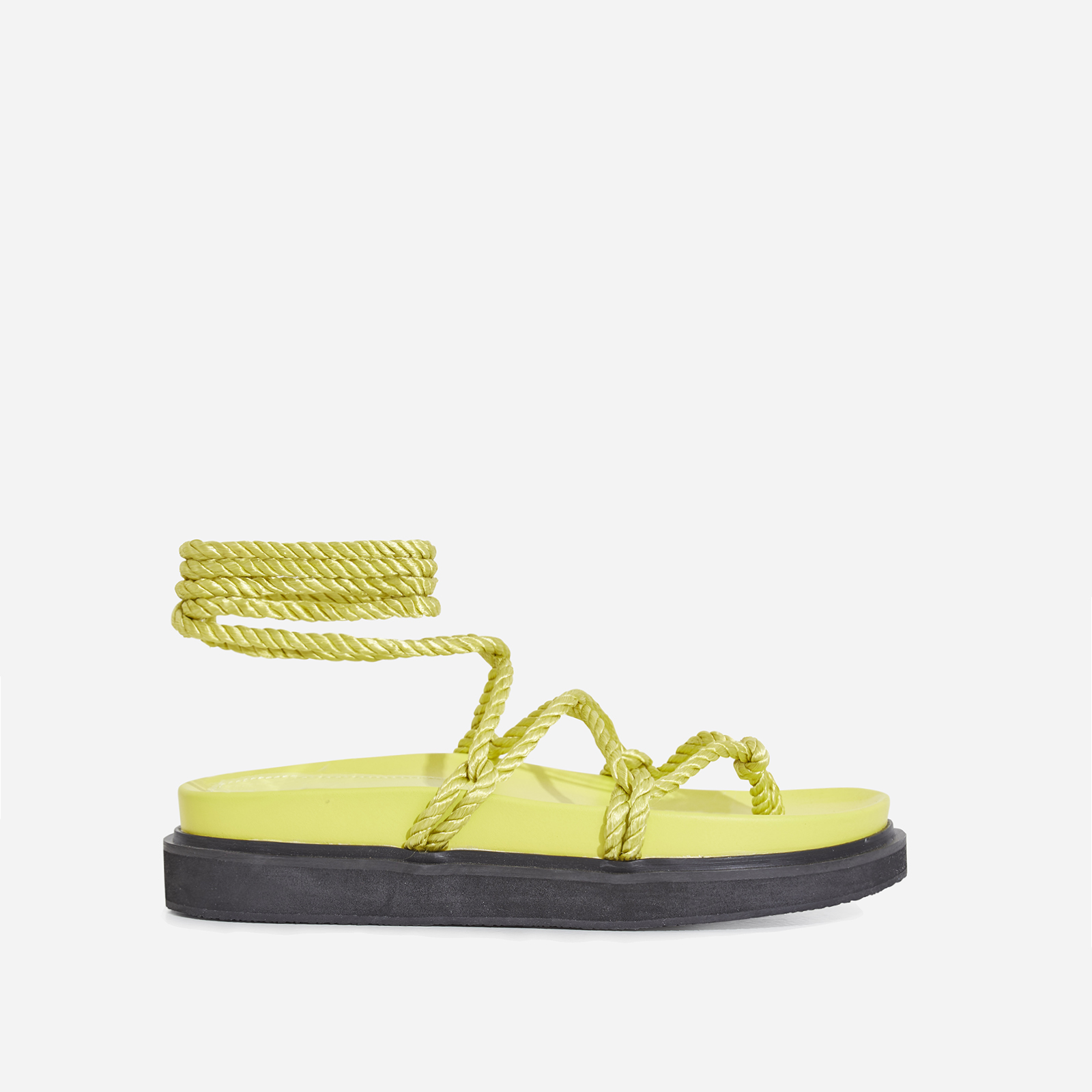 Mika Lace Up Rope Espadrille Sandal In Yellow Faux Leather