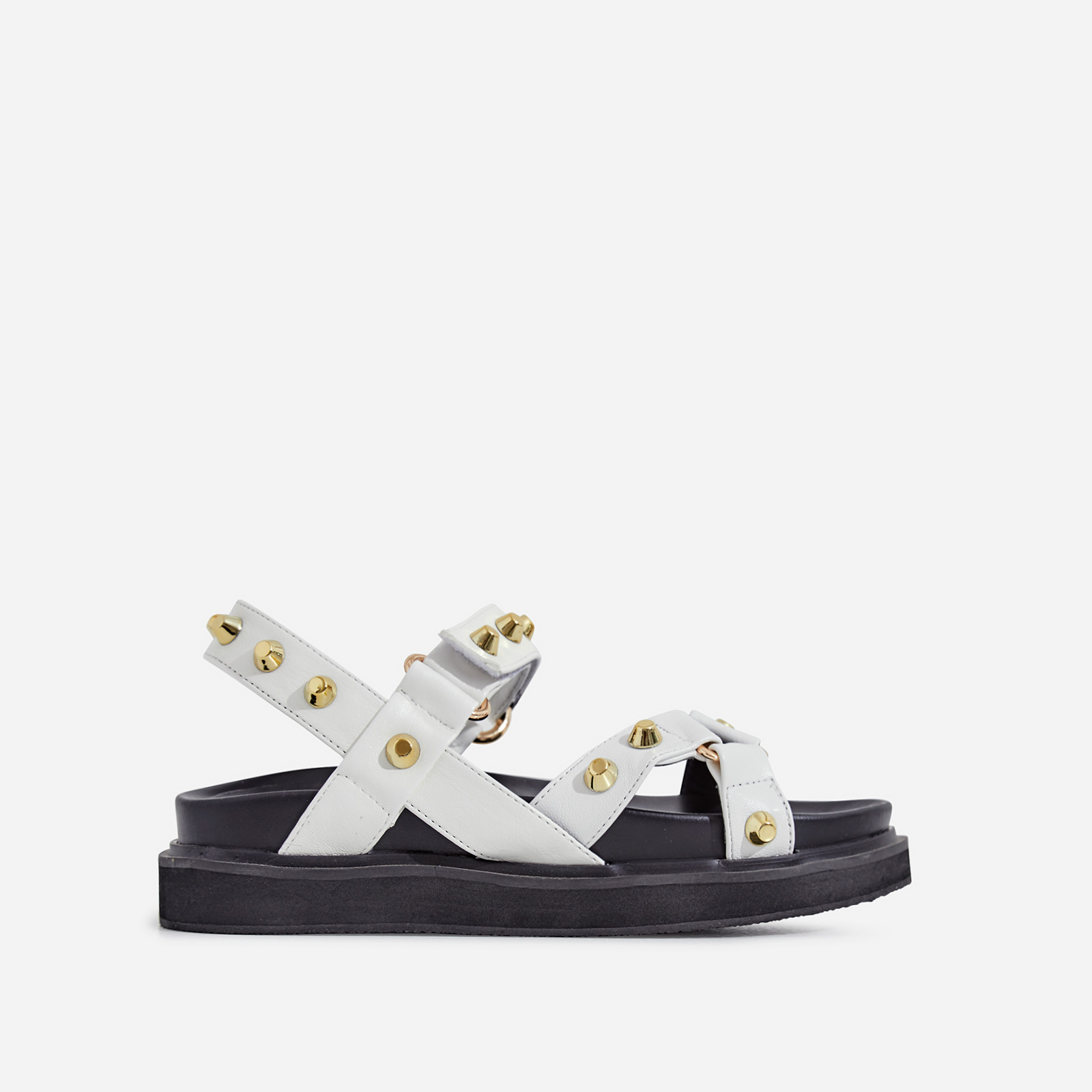 Mila Studded Detail Chunky Sole Sandal In White Faux Leather