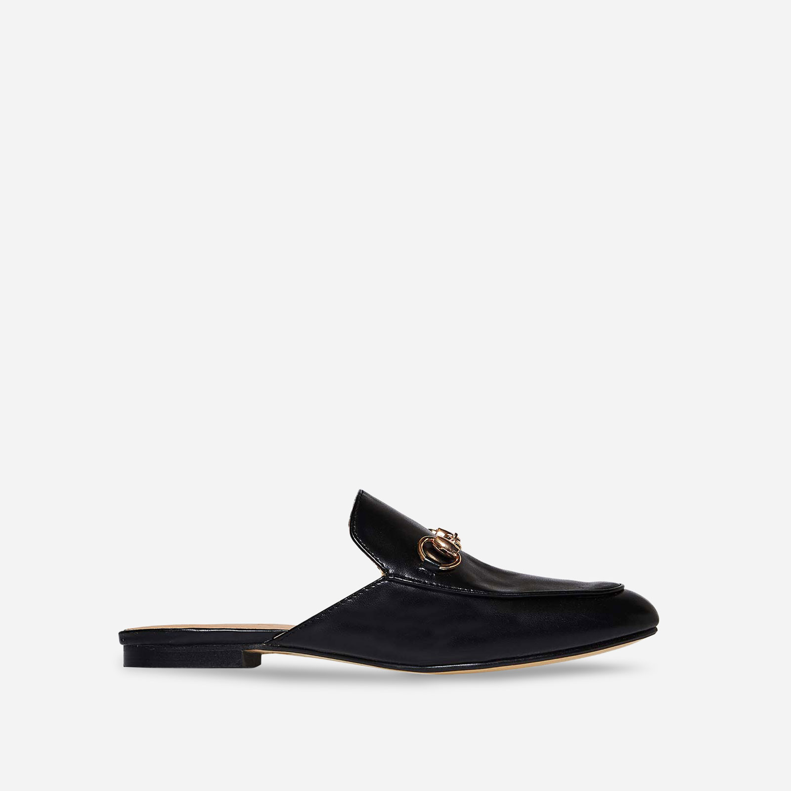 Miley Flat Mule In Black Faux Leather Image 1